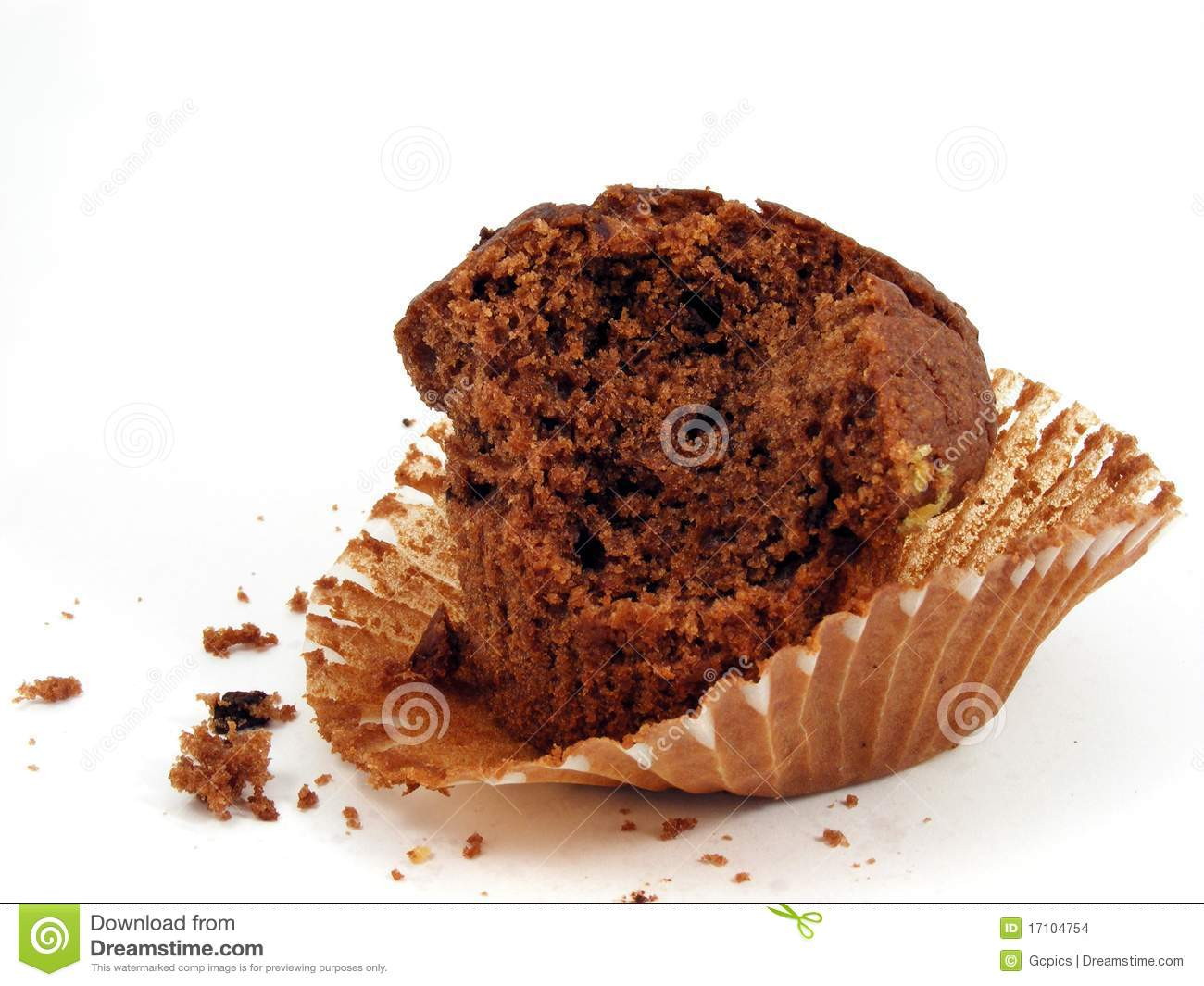 Half Eaten Chocolate Muffin In Wrapper Stock Photo Image