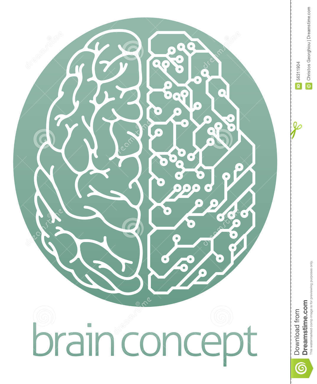 Circuit Brain Reusable : Half electrical circuit board brain stock vector image