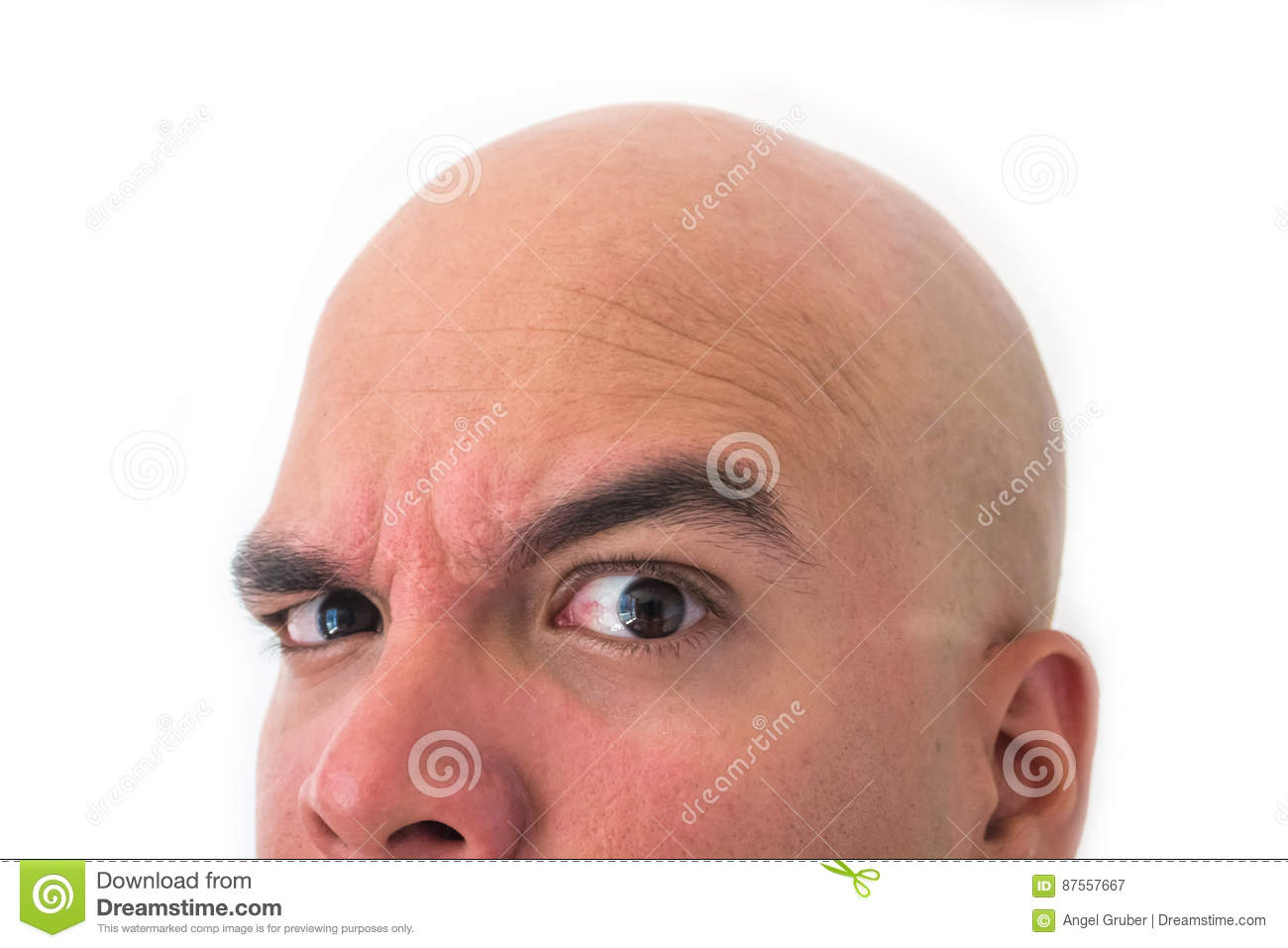 Download Half Face Of Bald Man In White Background. Stock Image - Image of facial, funny: 87557667