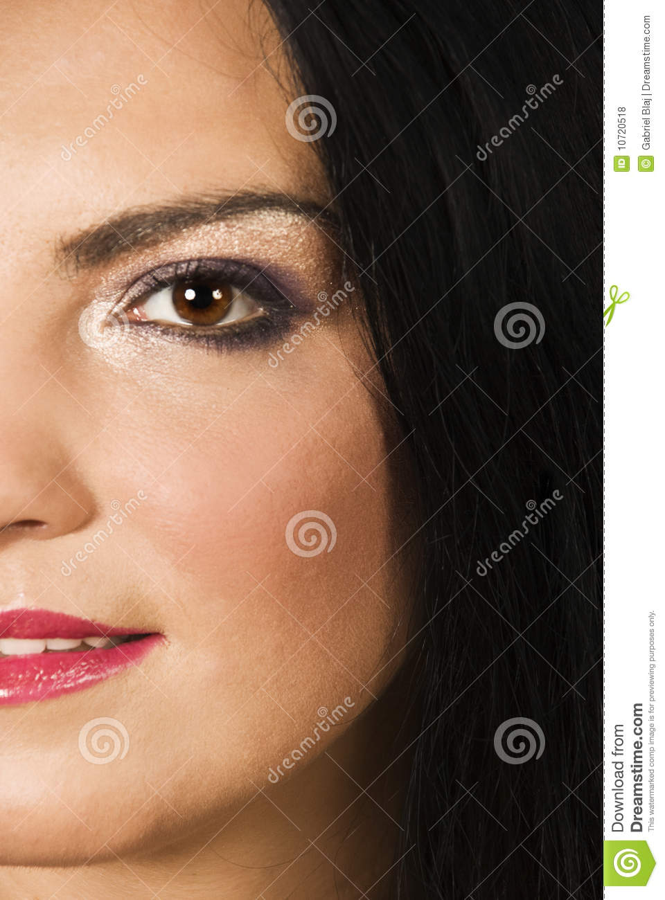 Half Face Of Beauty Woman Make Up Royalty Free Stock