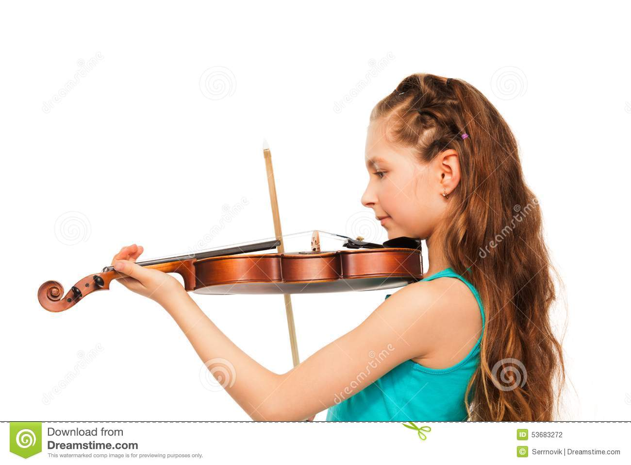 Cheerful Girl Playing Violin In The Studio Royalty Free