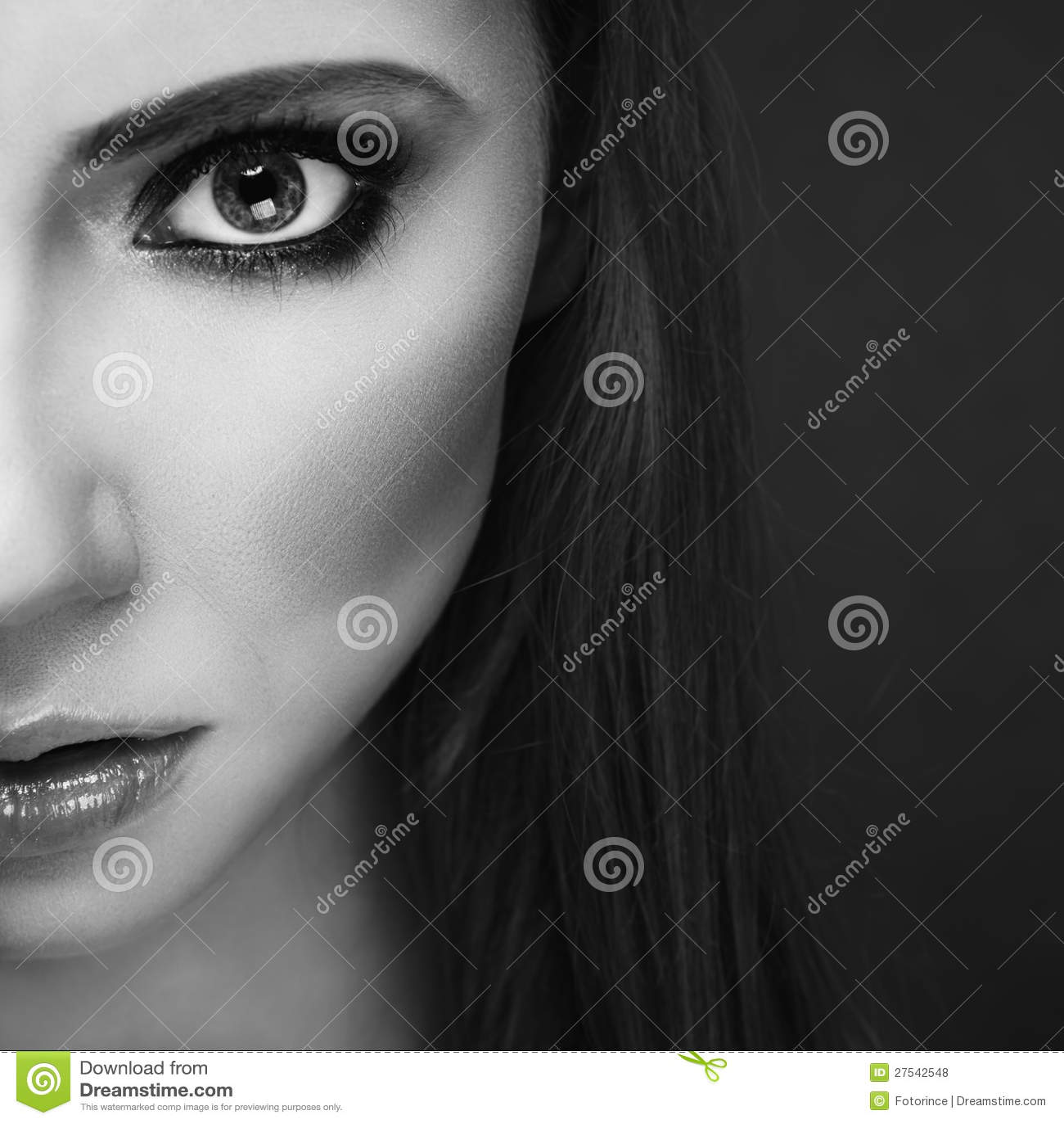 Half Face Portrait Stock Photo. Image Of Eyebrow, Skincare