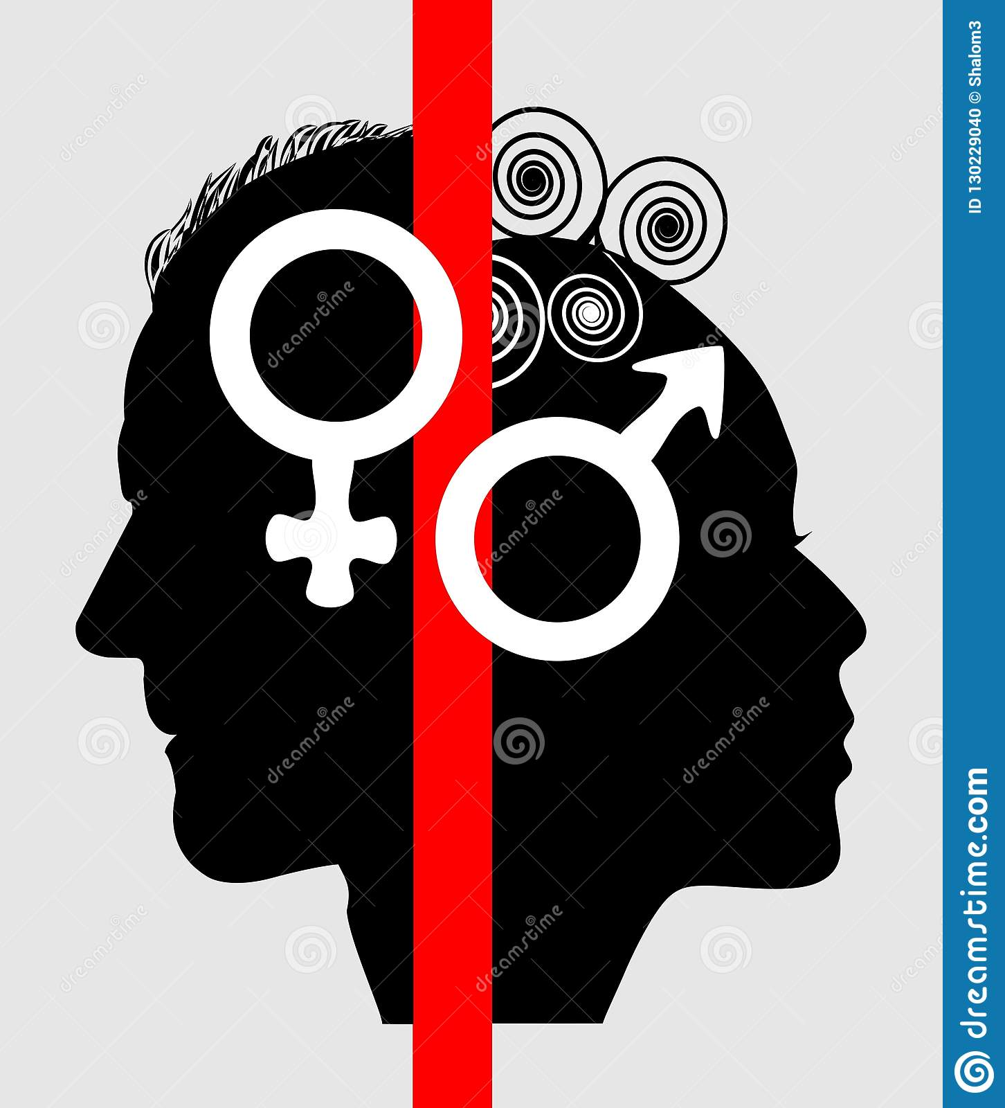 Half Face Profile Of A Woman And A Man Symbols For The Sex