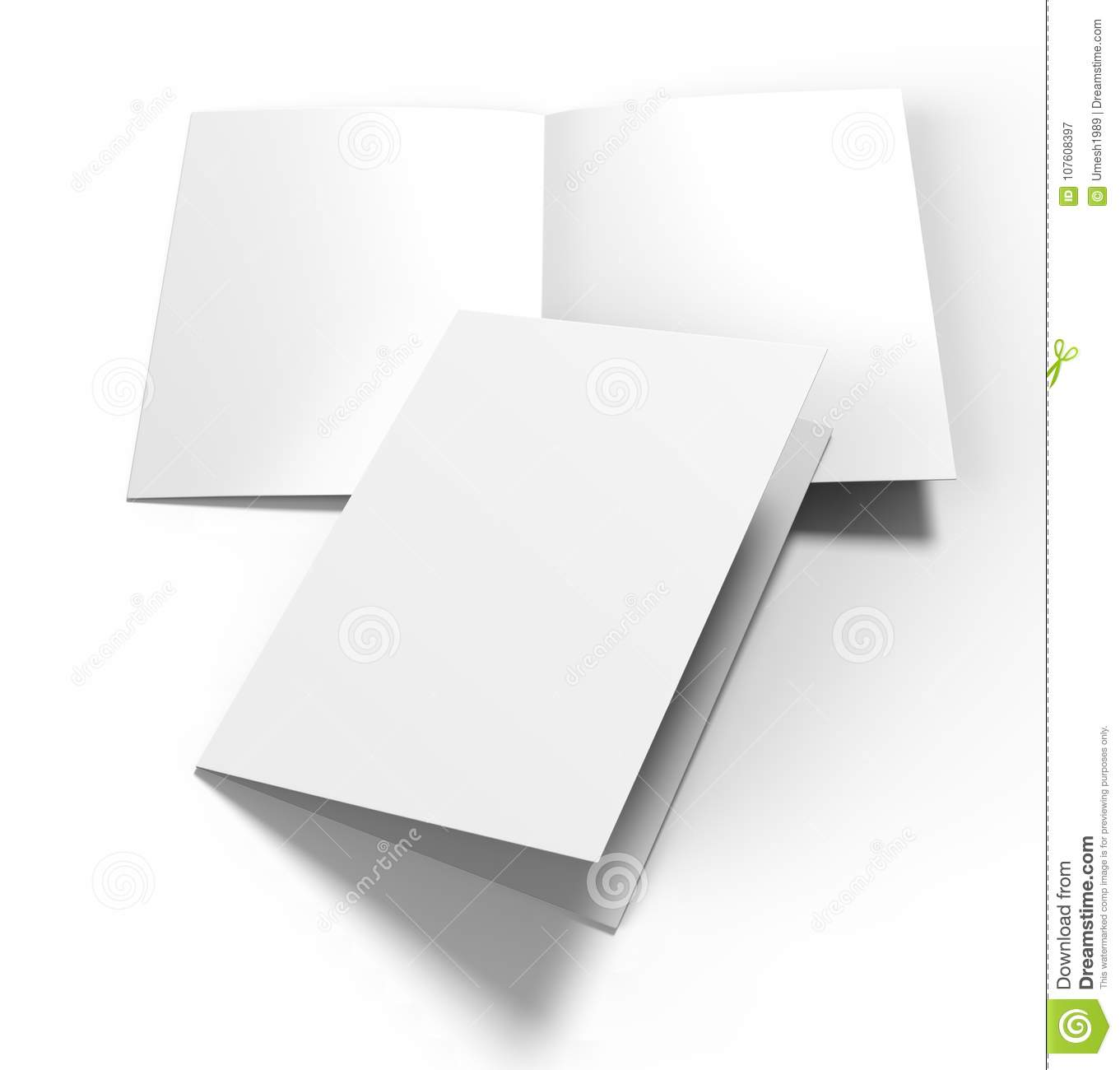 A3 Half-fold Brochure Blank White Template For Mock Up And ...