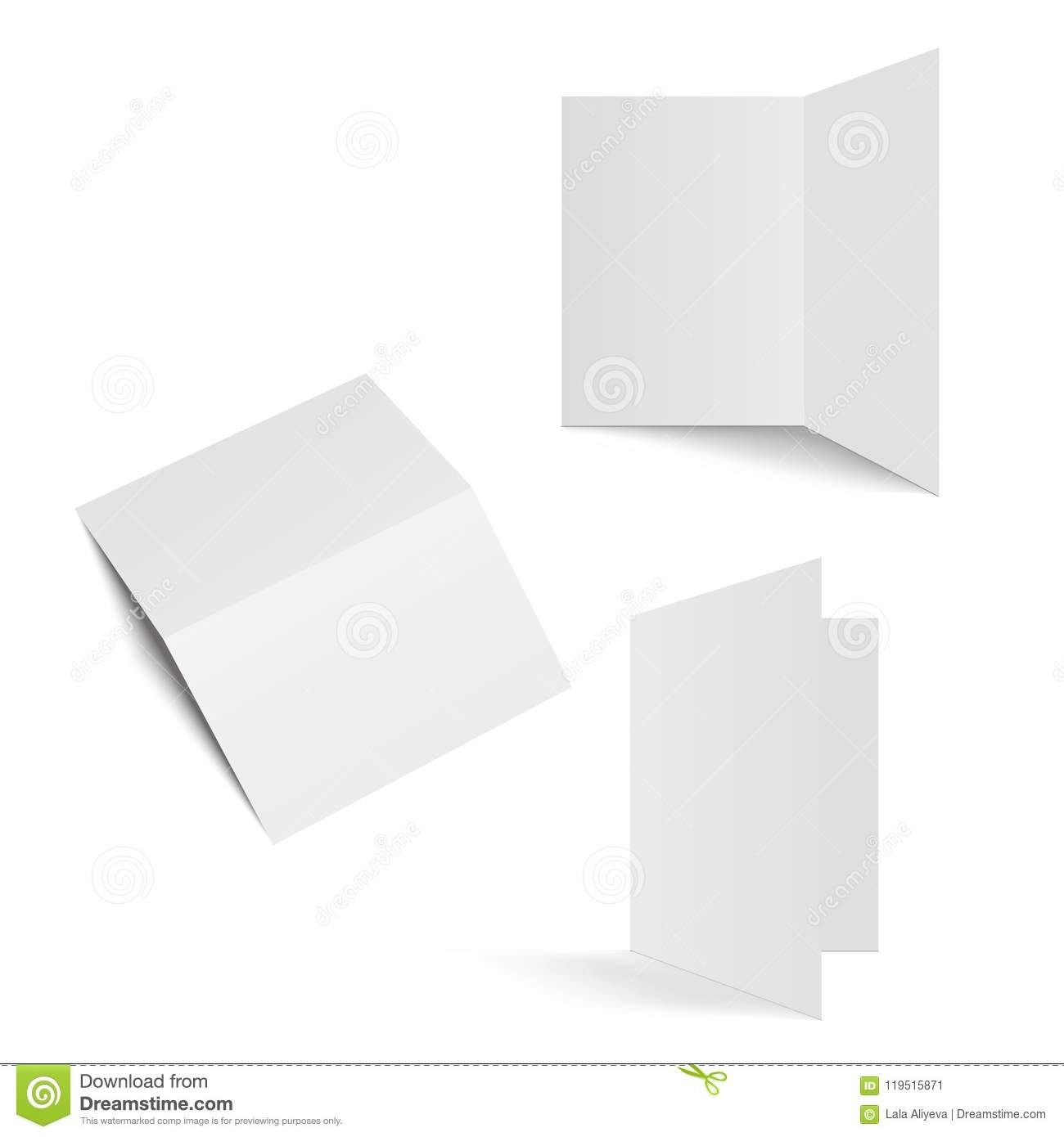 Half-fold Brochure Blank White Template For Mock Up And