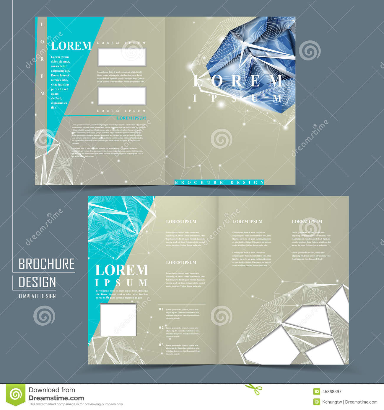 half fold brochure template with diamond element illustration