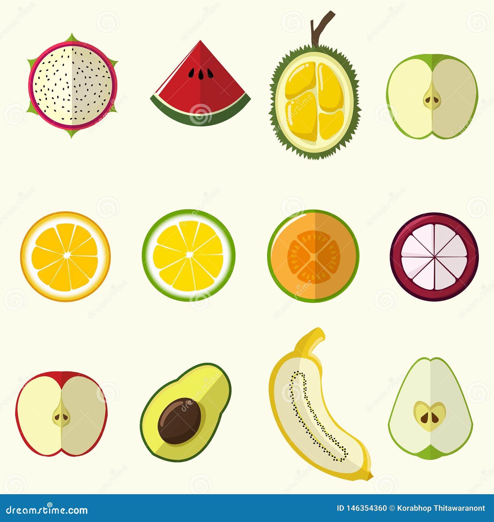 Half fruit set cute style