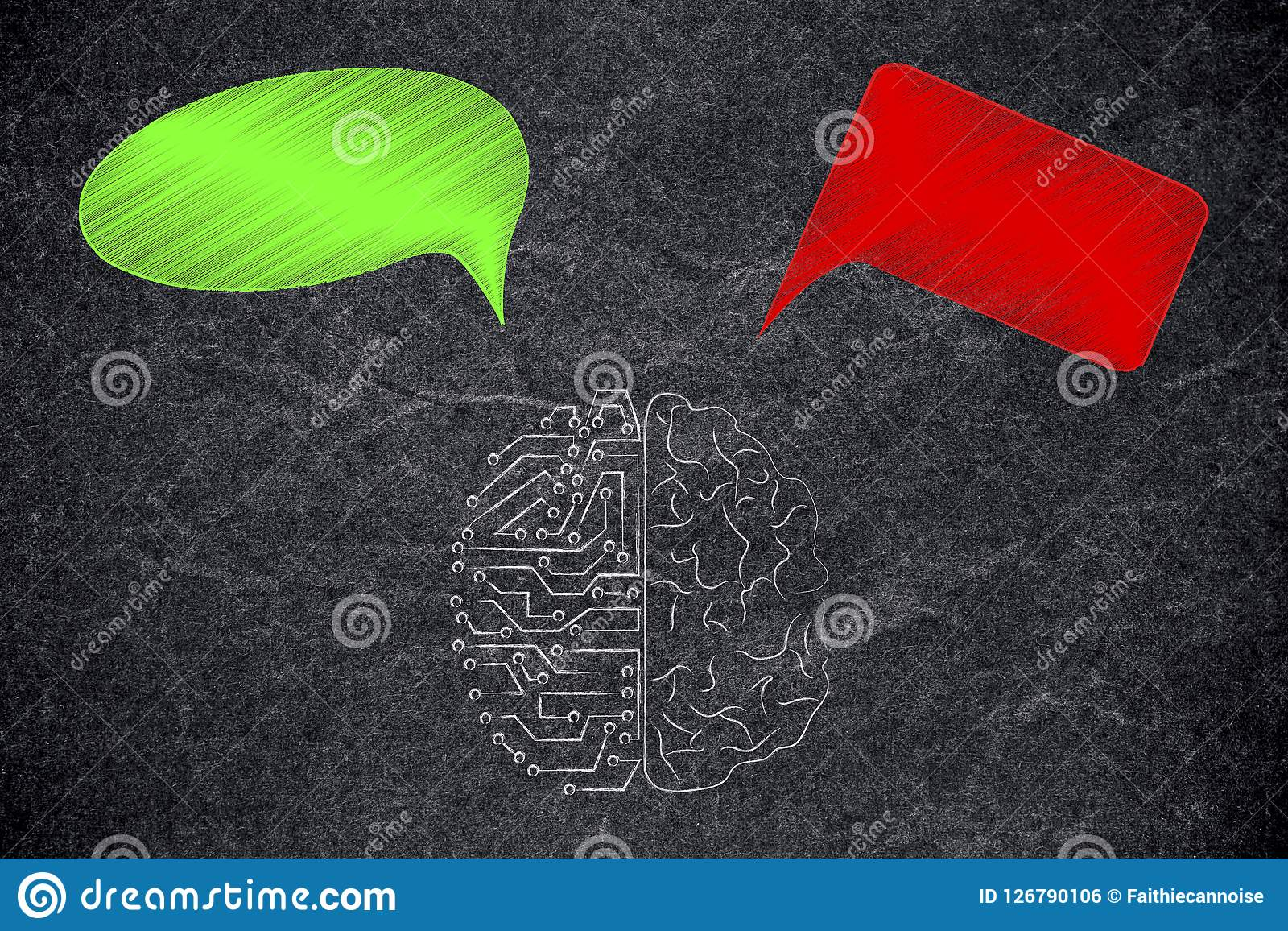 half human half circuit brain with green and red thoughts representing good and bad feelings or ideas