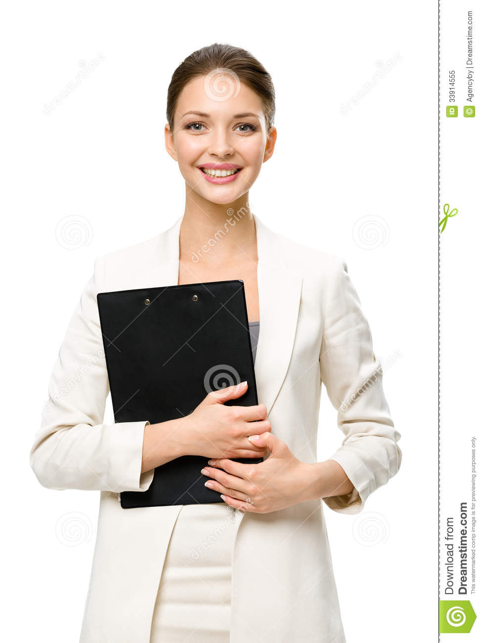Half-length portrait of business woman with papers