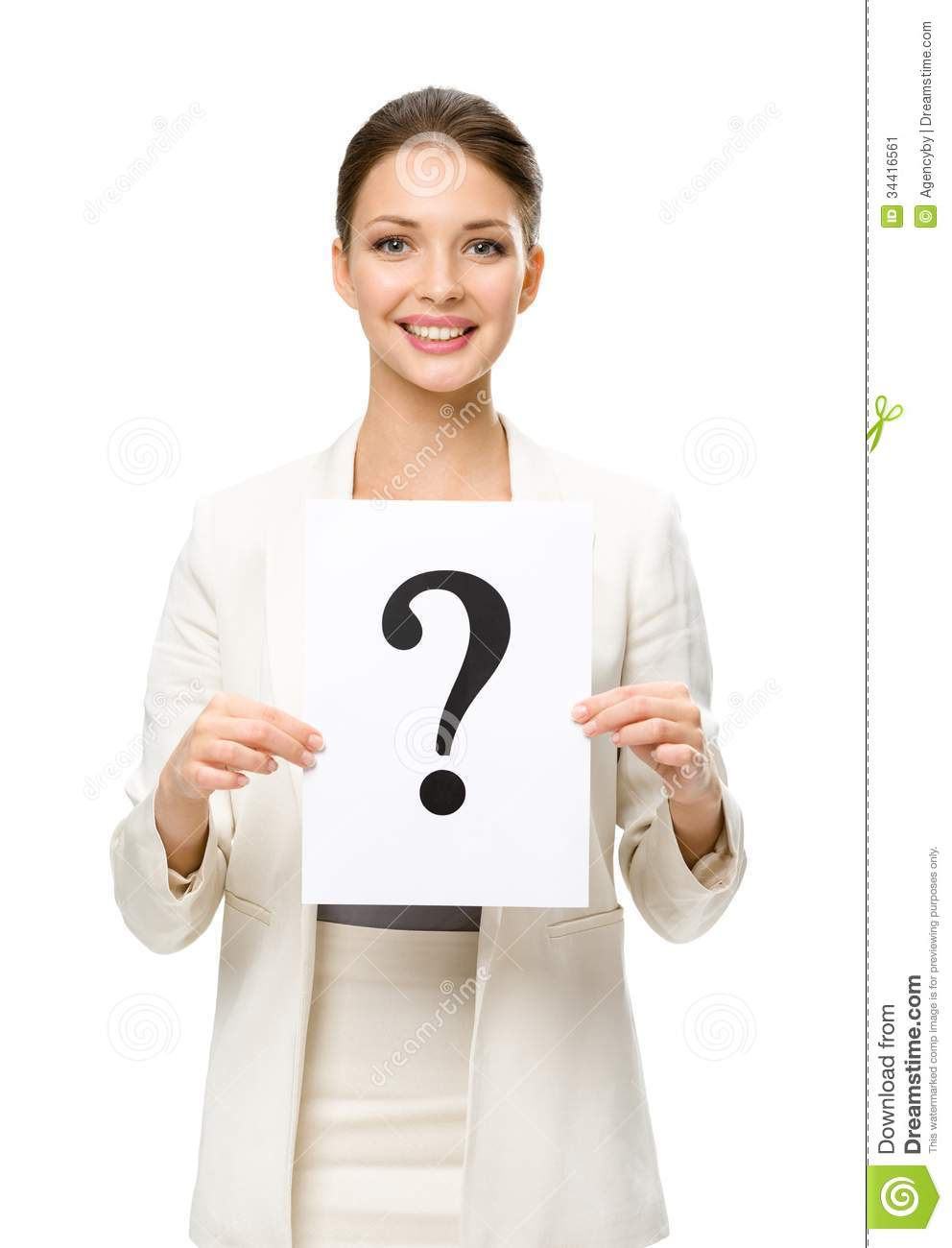 Half-length portrait of business woman with question mark