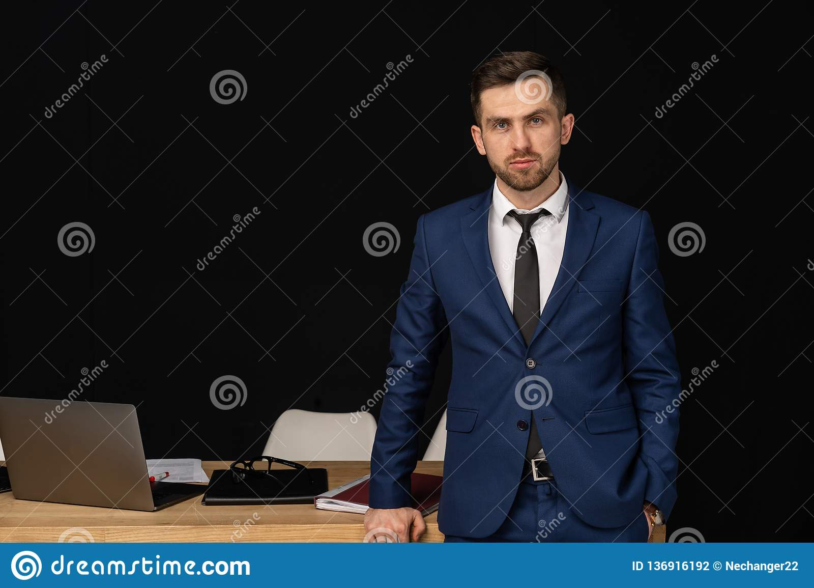 Half length portrait of middle aged successful business man