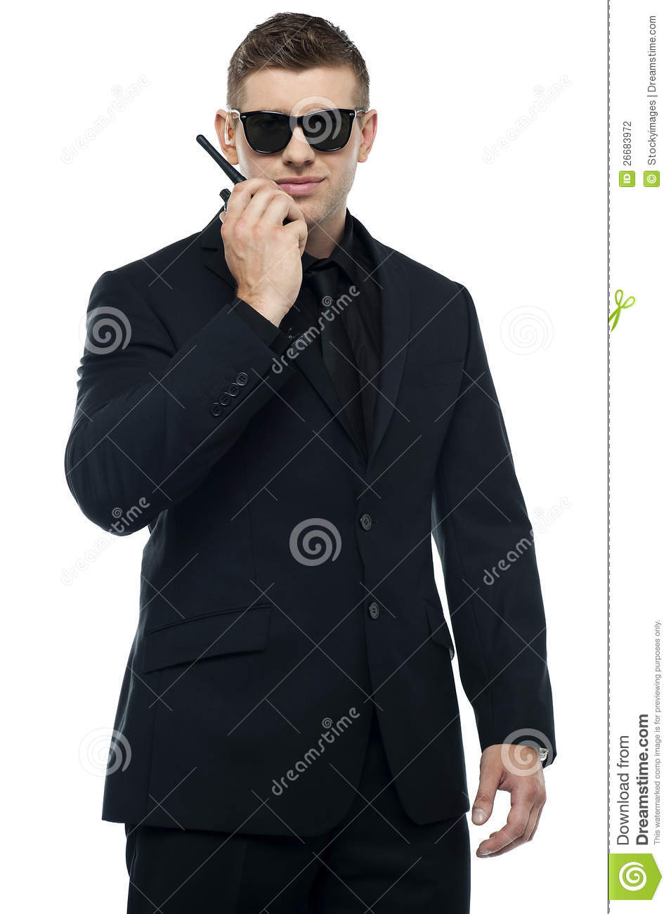 Half length portrait of young security officer