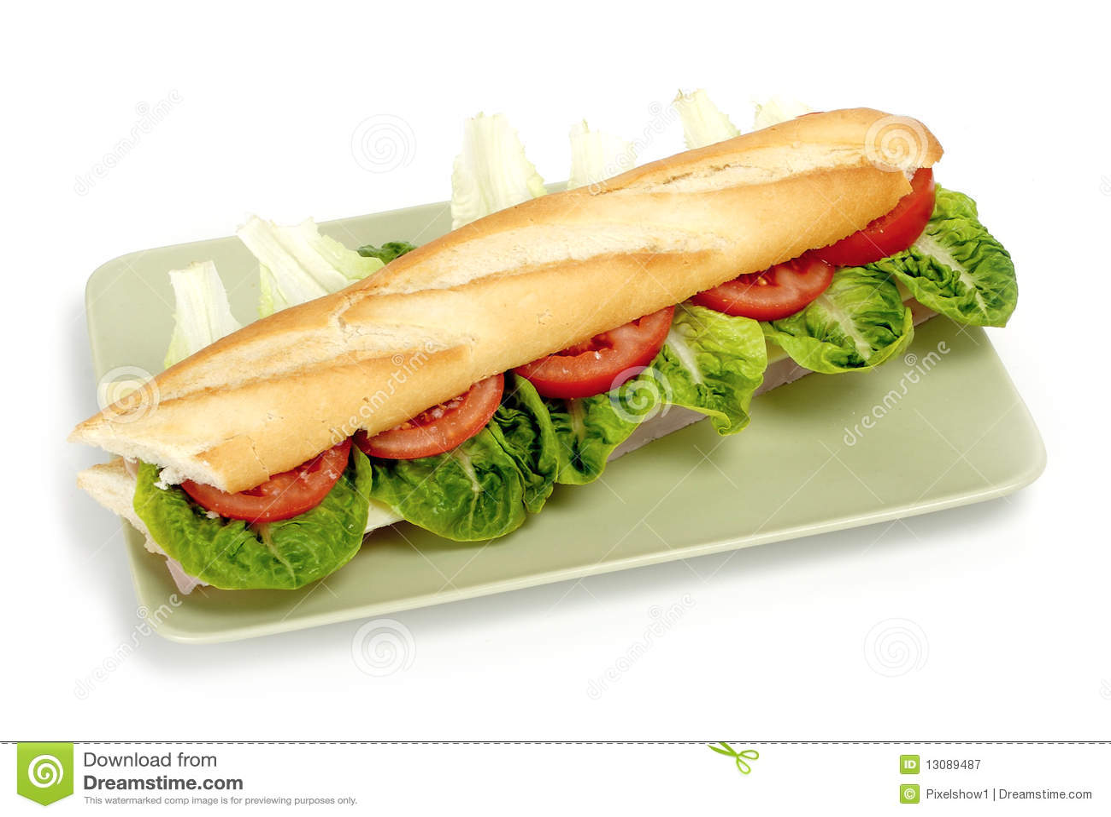 half of long baguette sandwich royalty free stock