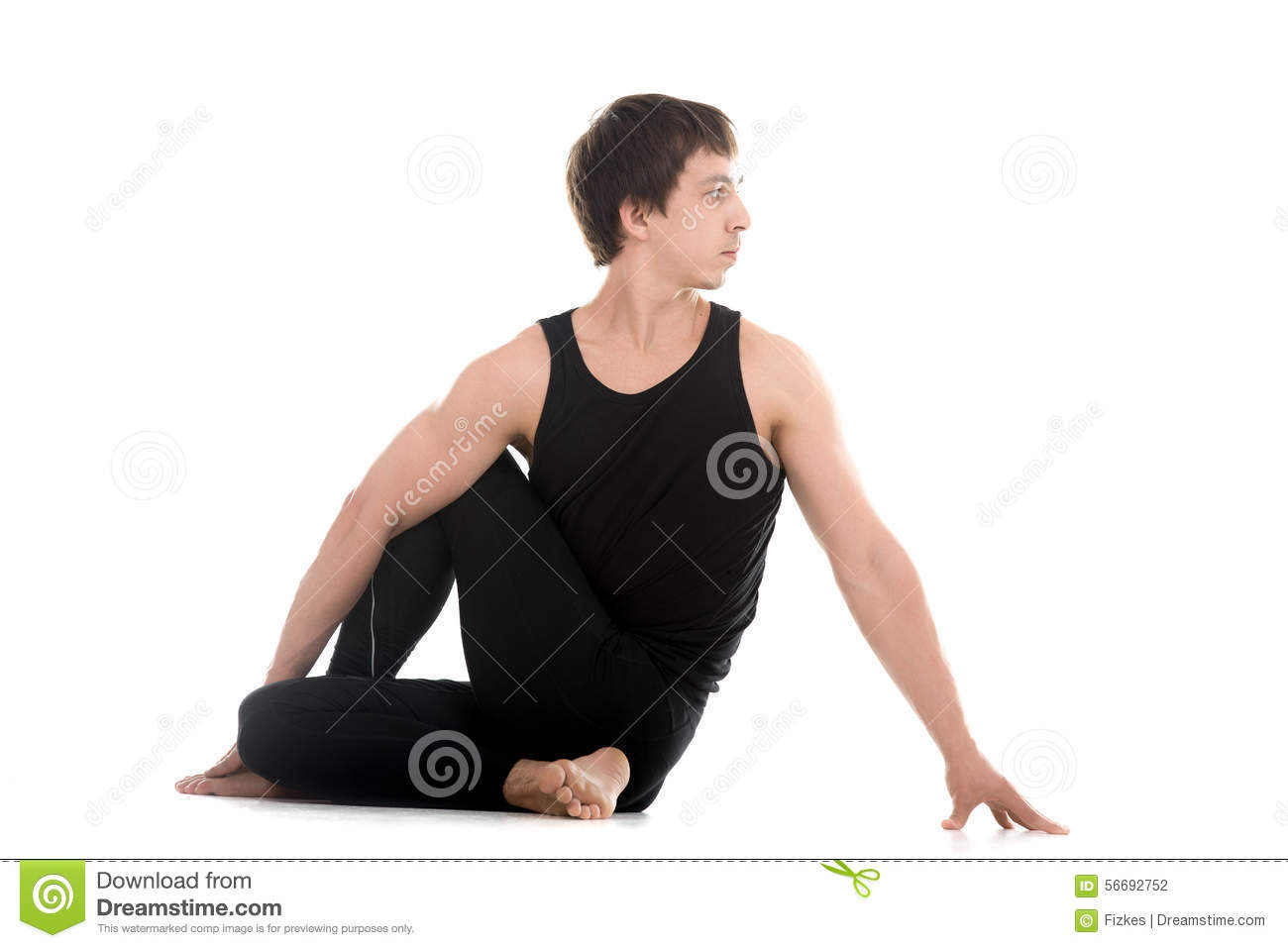 Half lord of the fishes yoga pose stock photo image for Half lord of the fishes