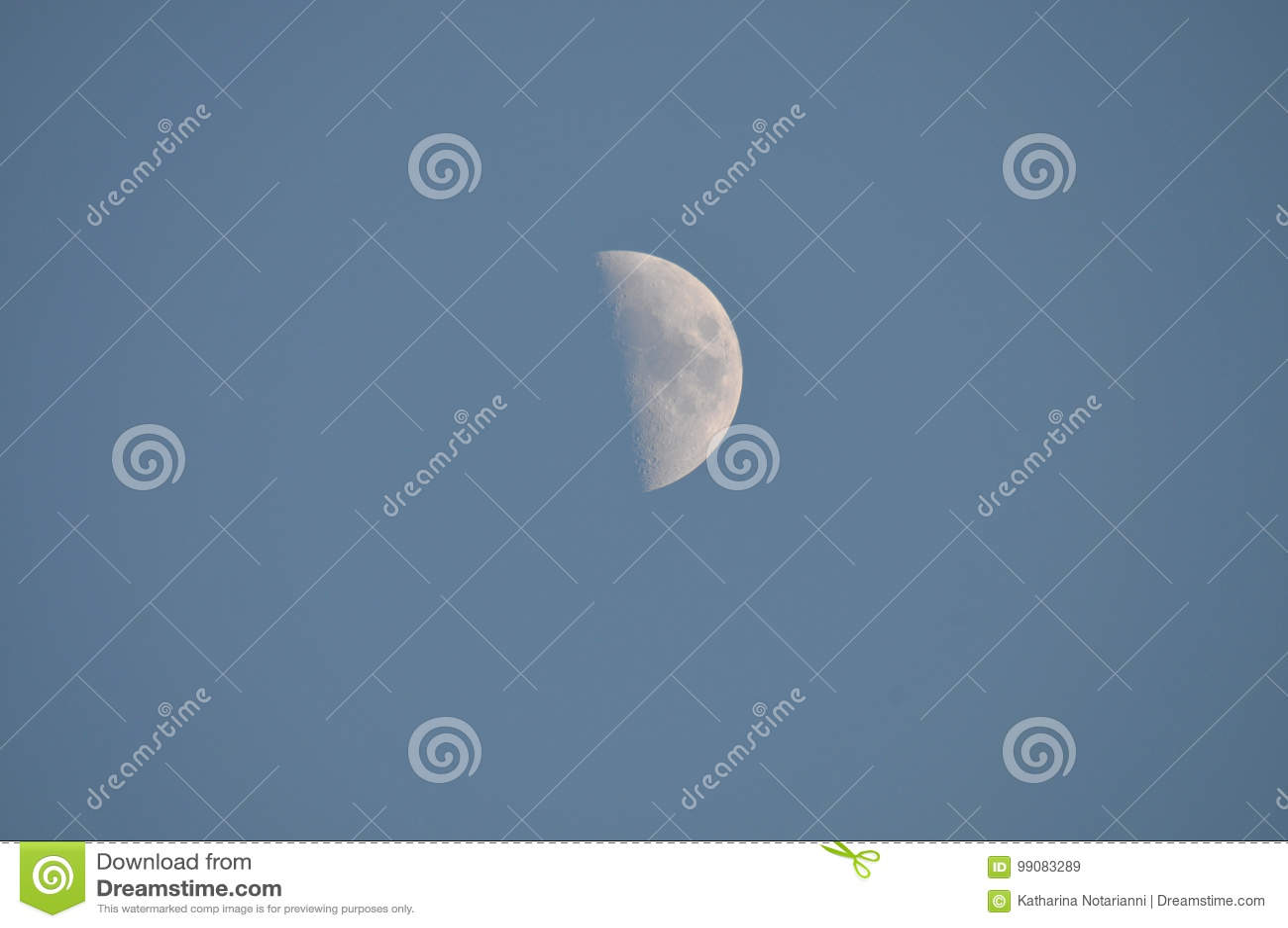 Half Moon in Daytime Sky