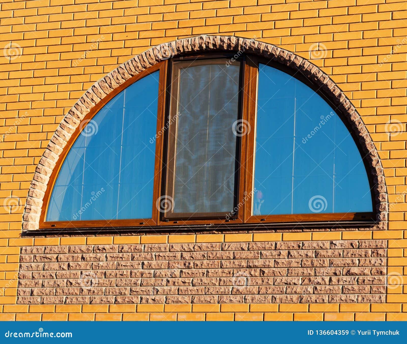 Half Moon Window On The Brick Wall Stock Image Image Of House Closeup 136604359