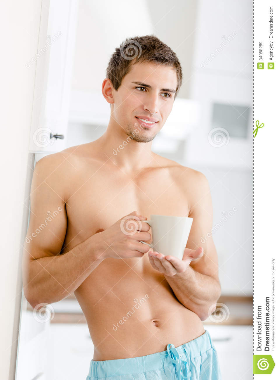 Naked coffee man