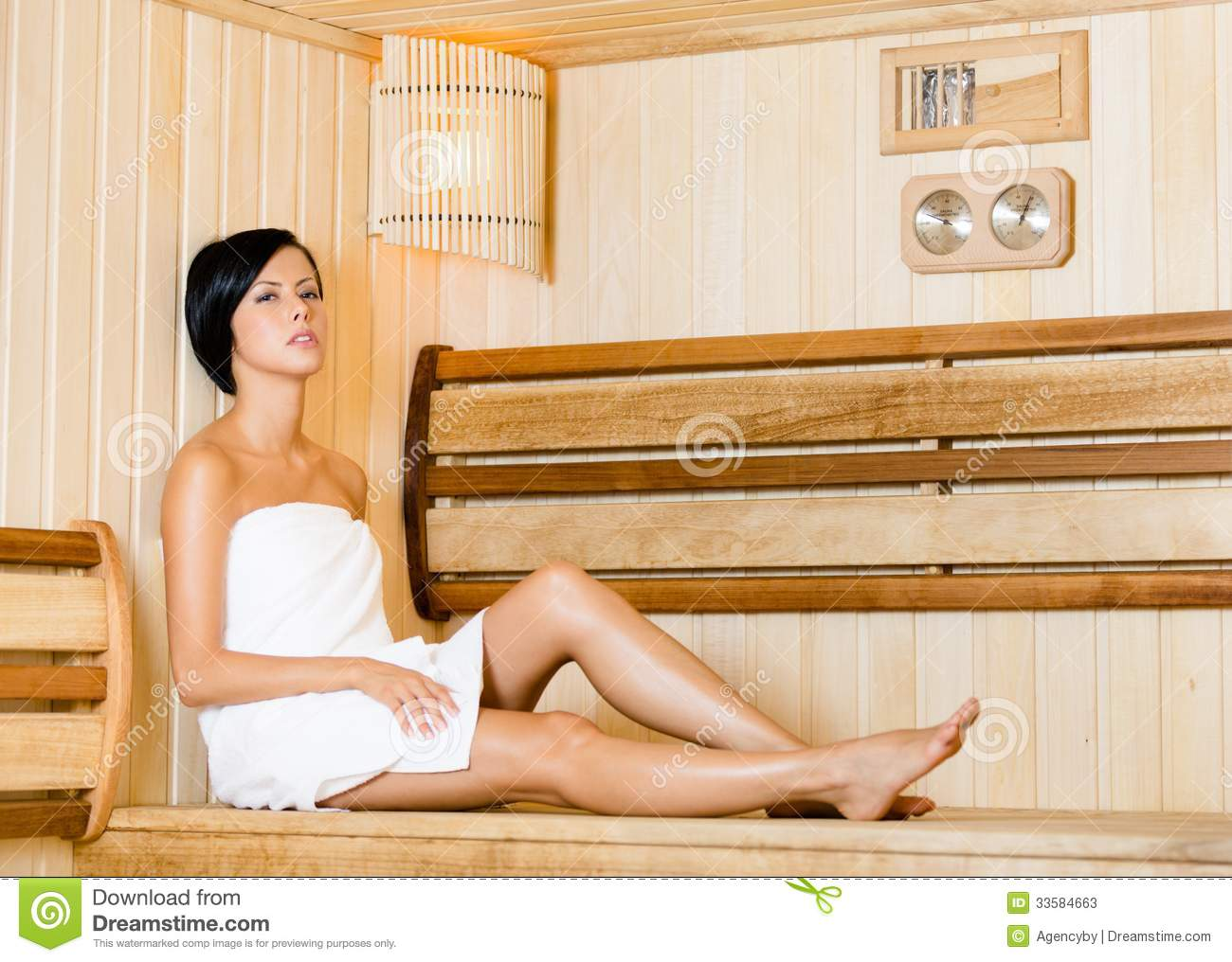Half Naked Woman Relaing In Sauna Concept Of Self Care Health And