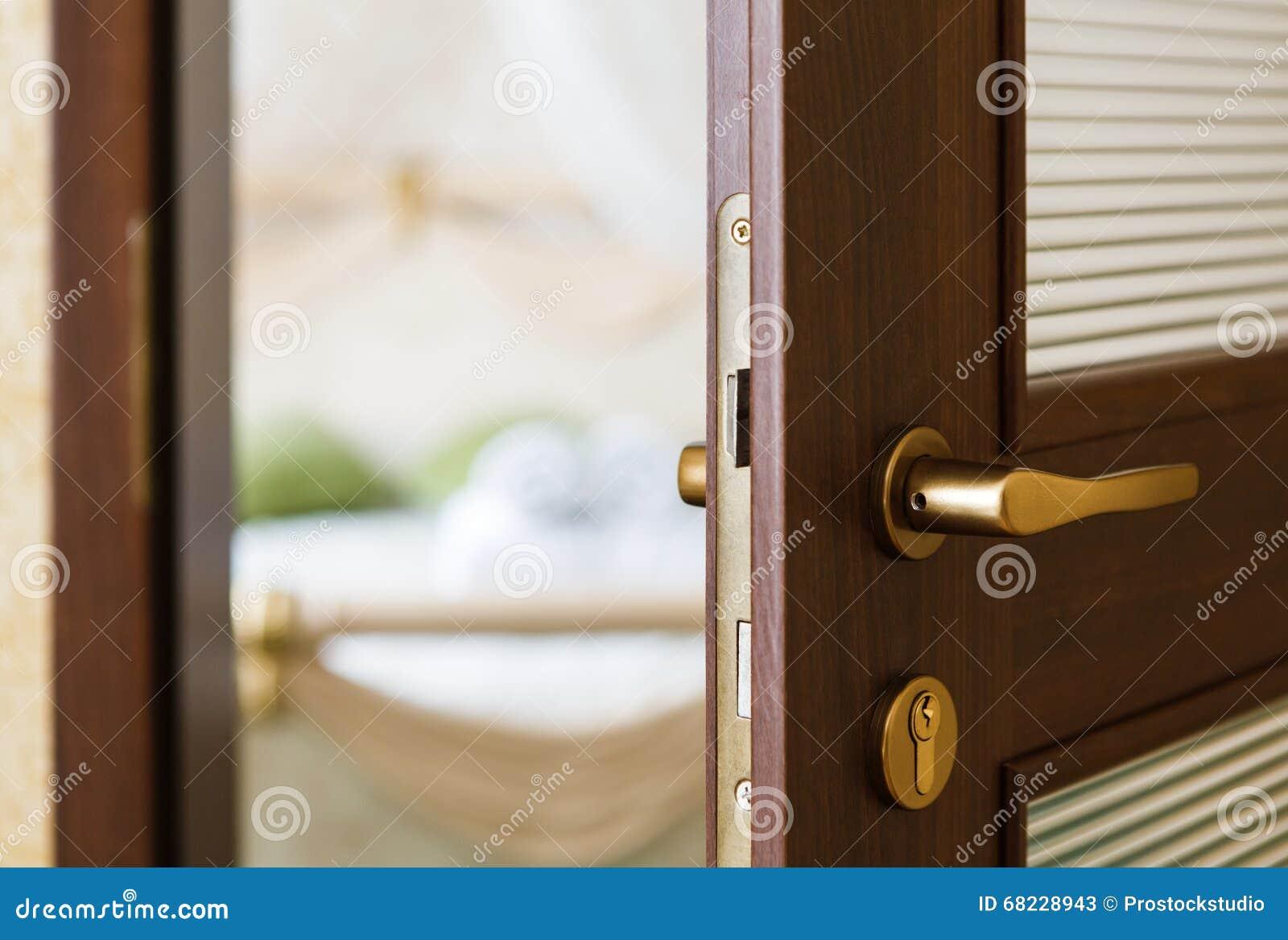 Half Open Door Of A Hotel Bedroom Stock Photo Image