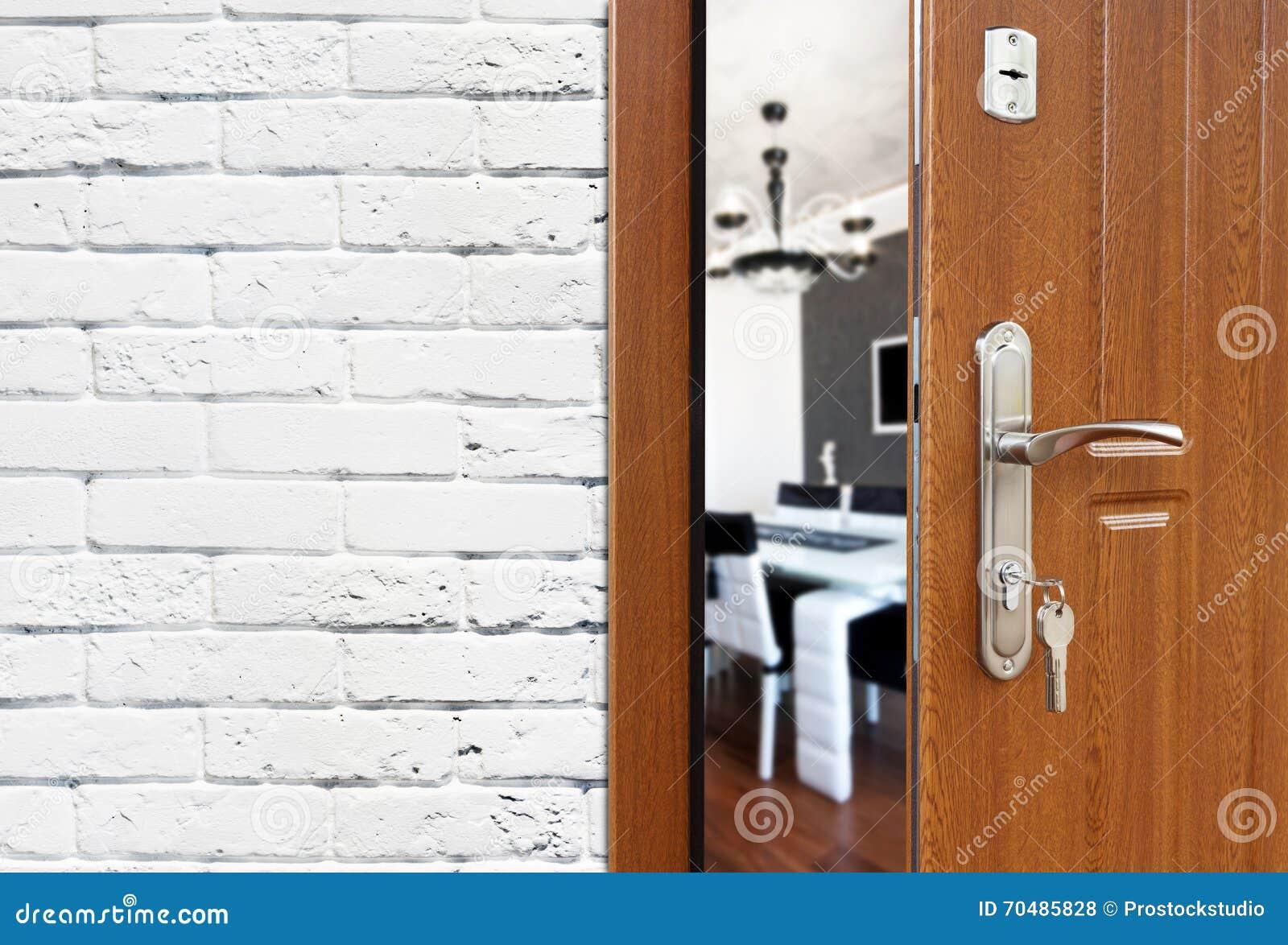 Half Open Door Of A Modern Kitchen Closeup. Stock Photo - Image of ...
