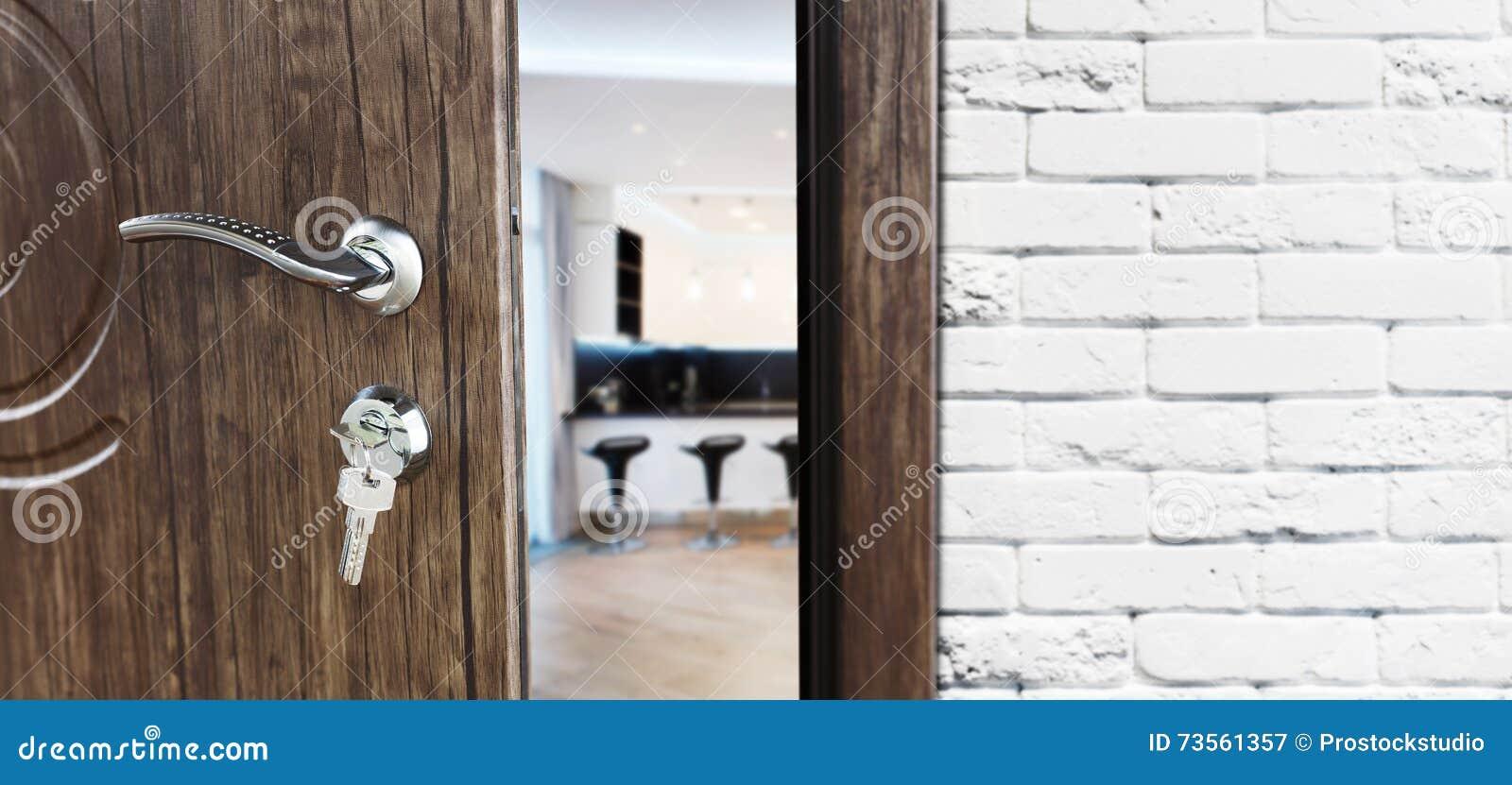 Half Open Door Of A Modern Kitchen Closeup. Stock Image - Image of ...