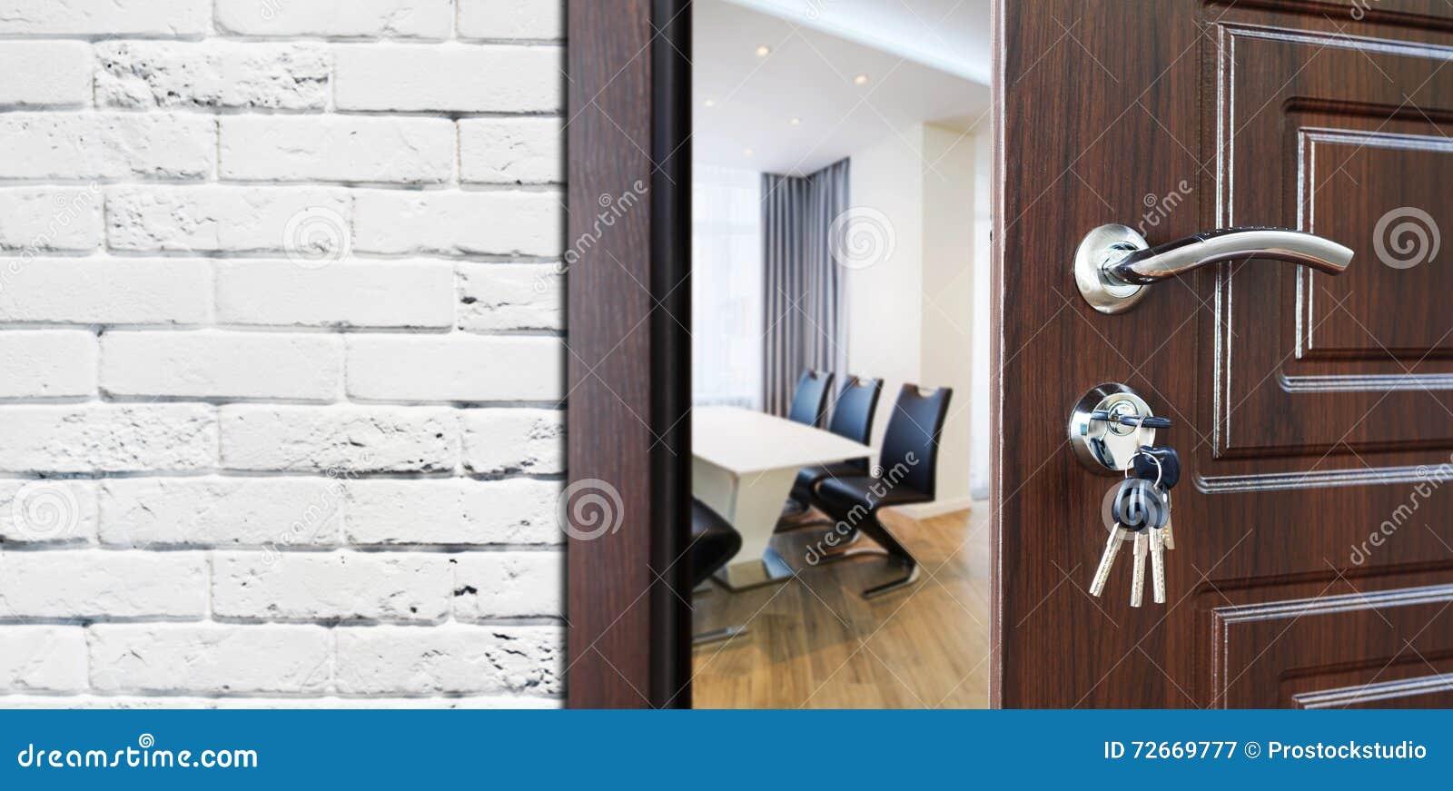 Half Open Door Welcome To The Office Stock Image Image