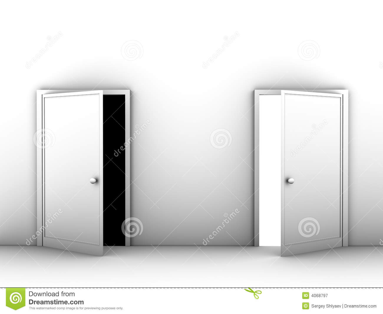 Beau Half Opened Doors. Black And White Image Royalty Free Stock Photography