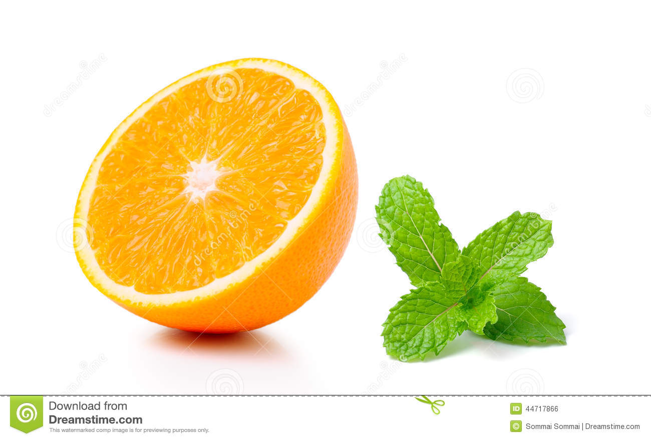 Half orange fruit and mint on white background