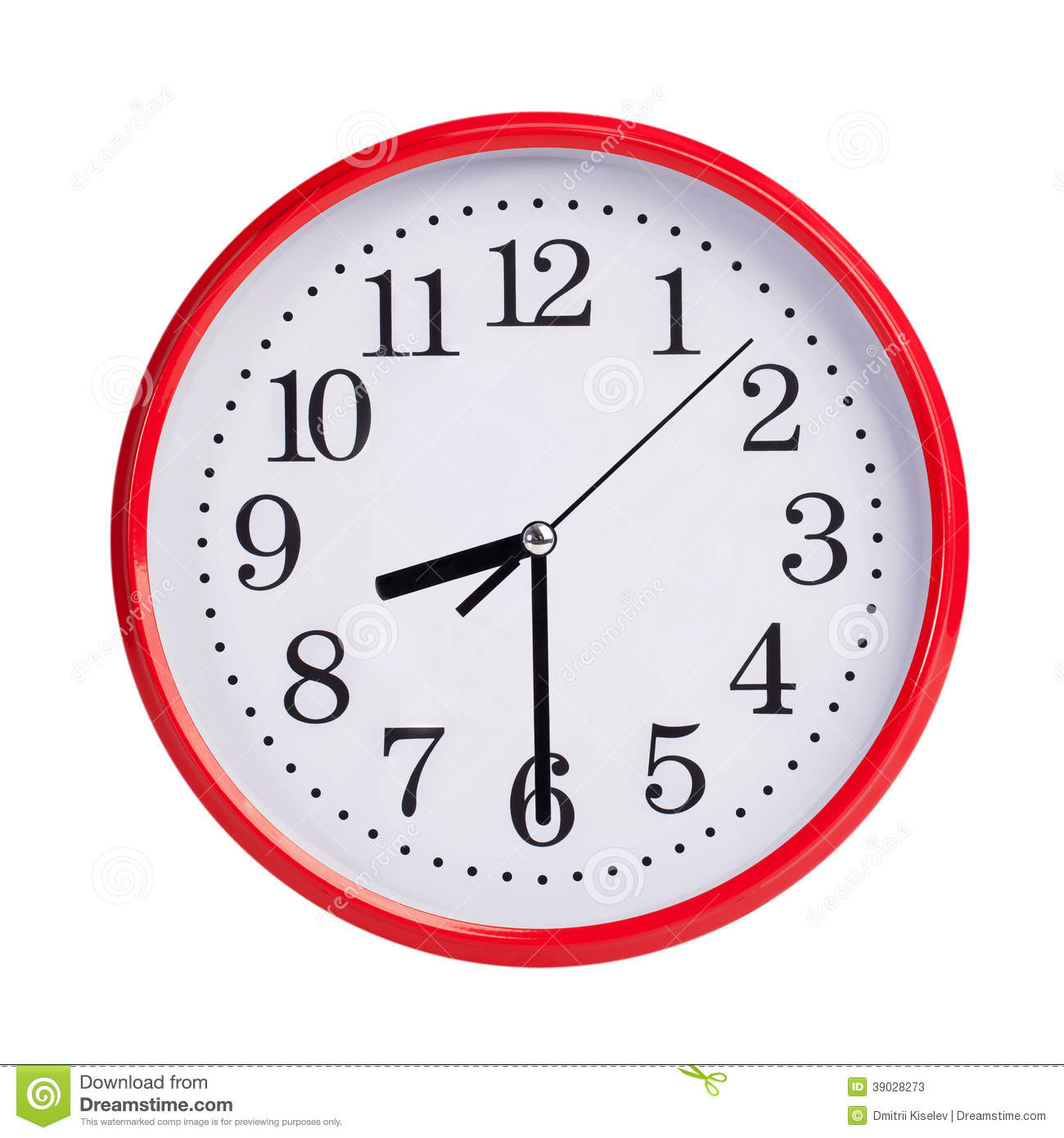 Half Past Eight On A Round Clock Face Stock Photo - Image: 39028273