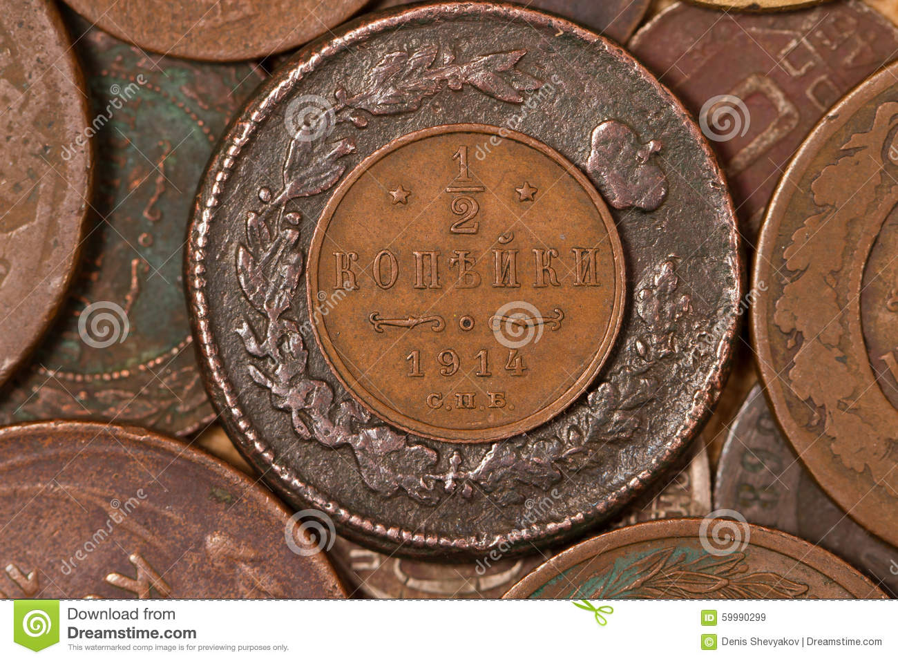 Half Of Penny. Old Money. Small Iron And Copper Coins ...