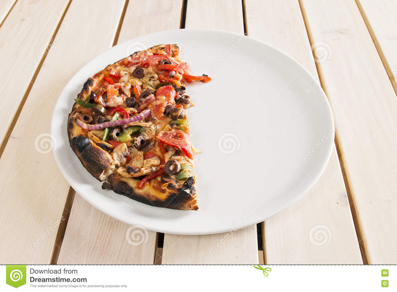 Half pizza stock image image of dinner vegetables junk for Table a pizza