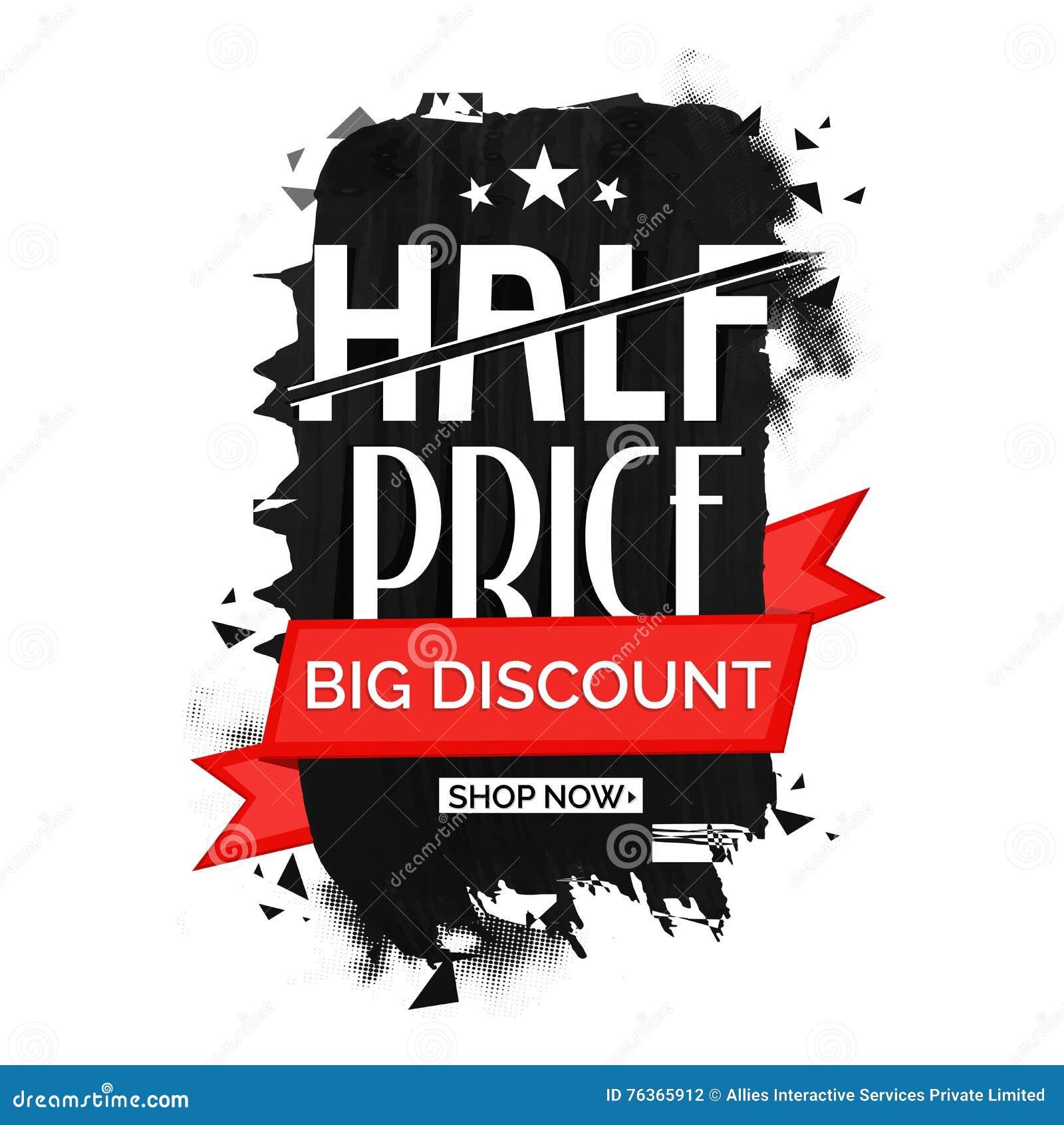 half price sale poster banner or flyer design stock illustration