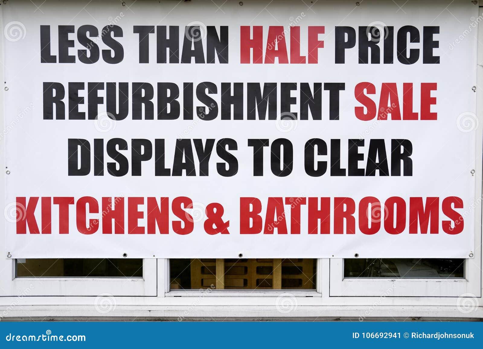 Half Price Sale Shop Window Sign Kitchens Bathrooms ...