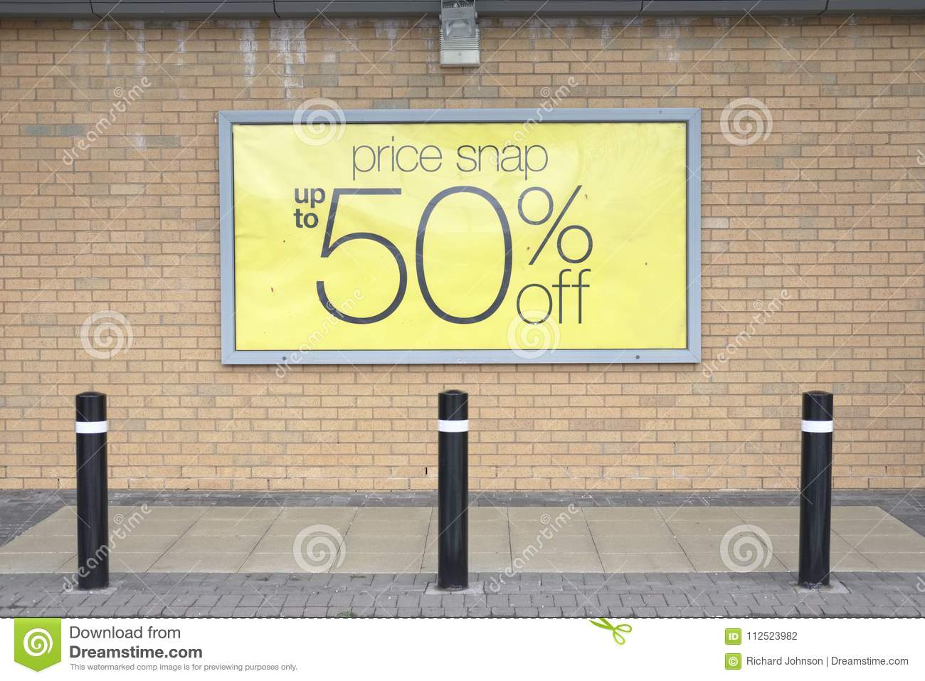 Superior Half Price Sale Sign On Brick Wall Yellow Outside Shop Store Shopping Mall  Season Bargins For Shoppers