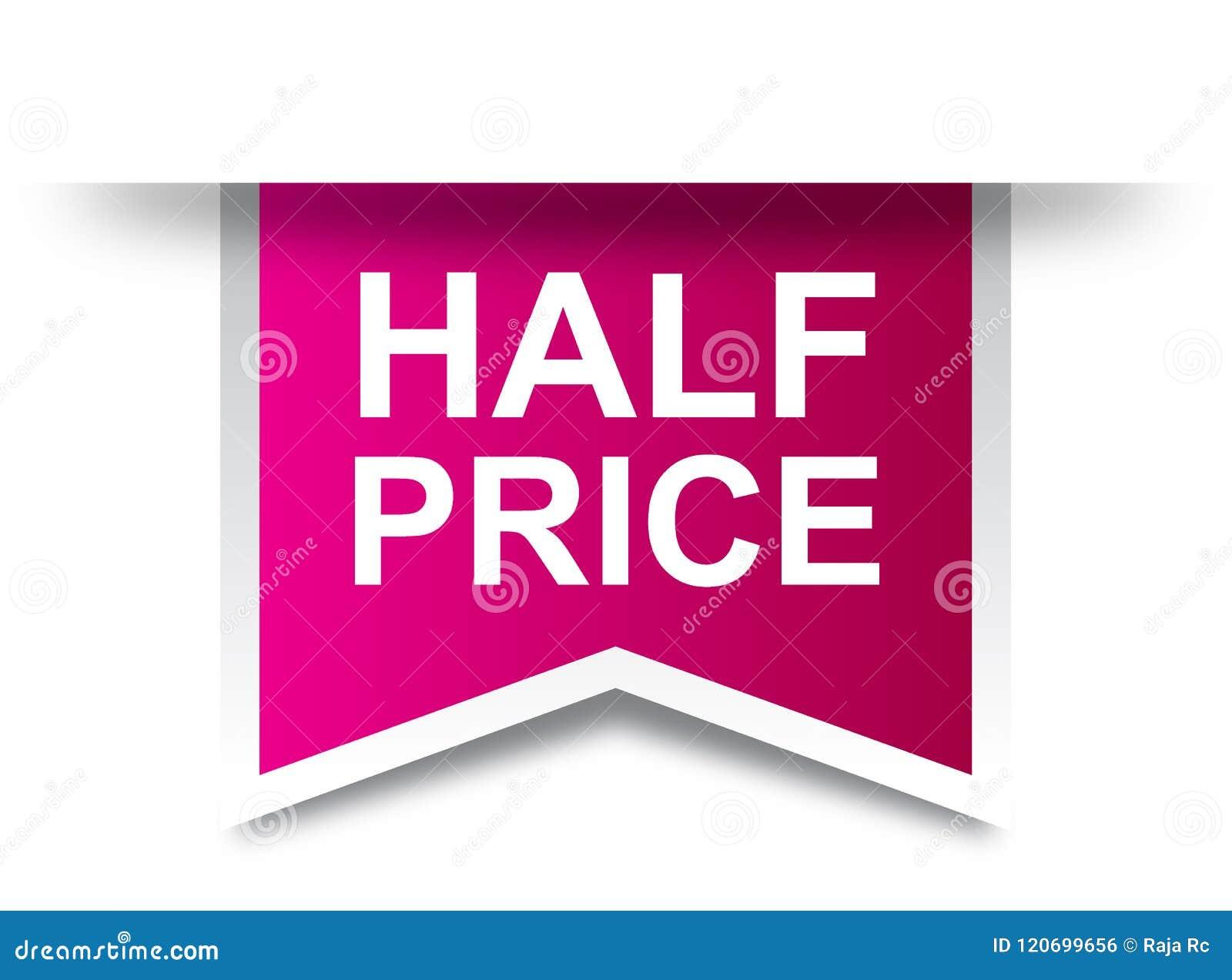 Half price tag label pink