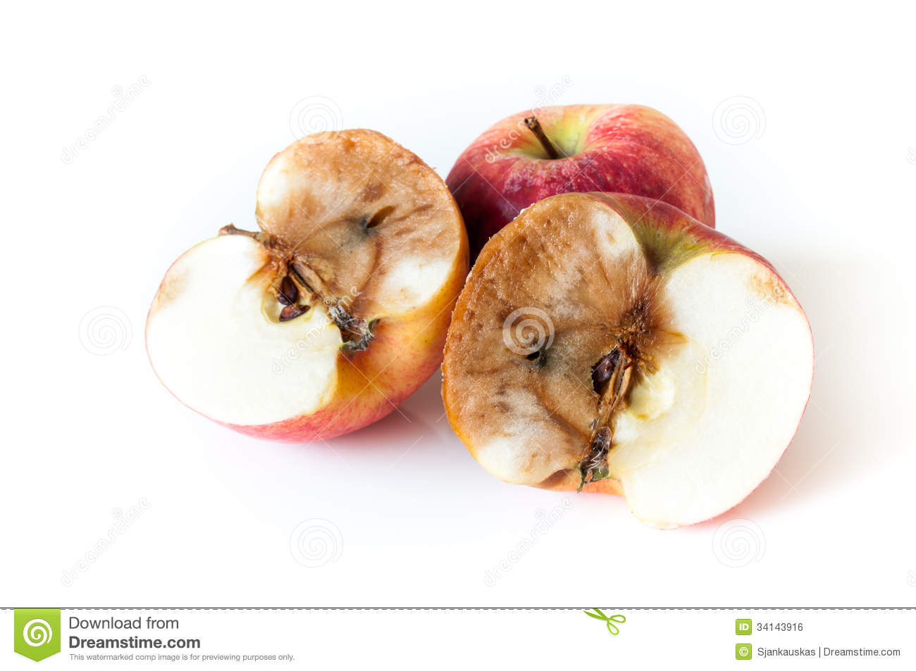Half of rotten apple