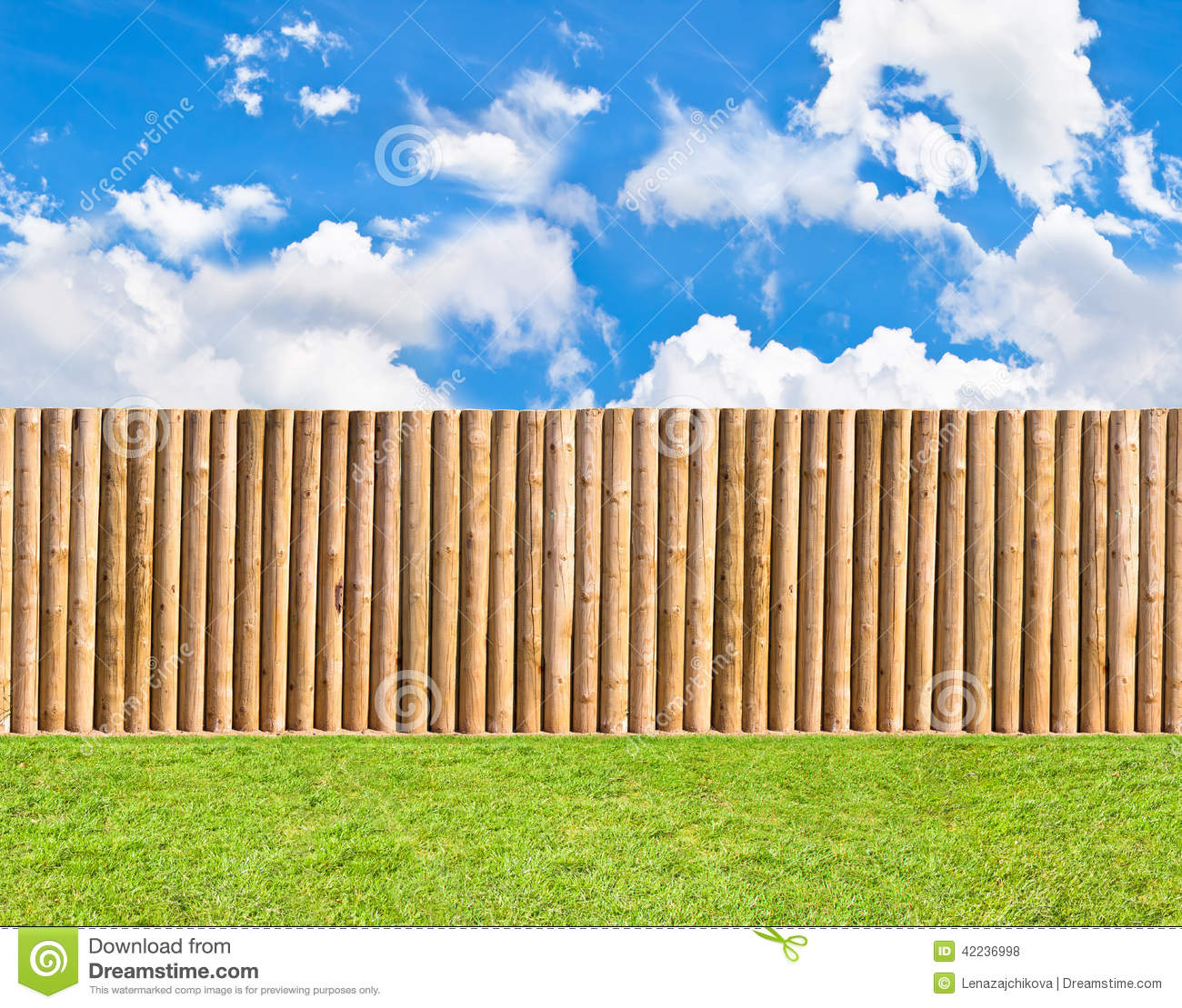Half round post and rail fence stock photo image