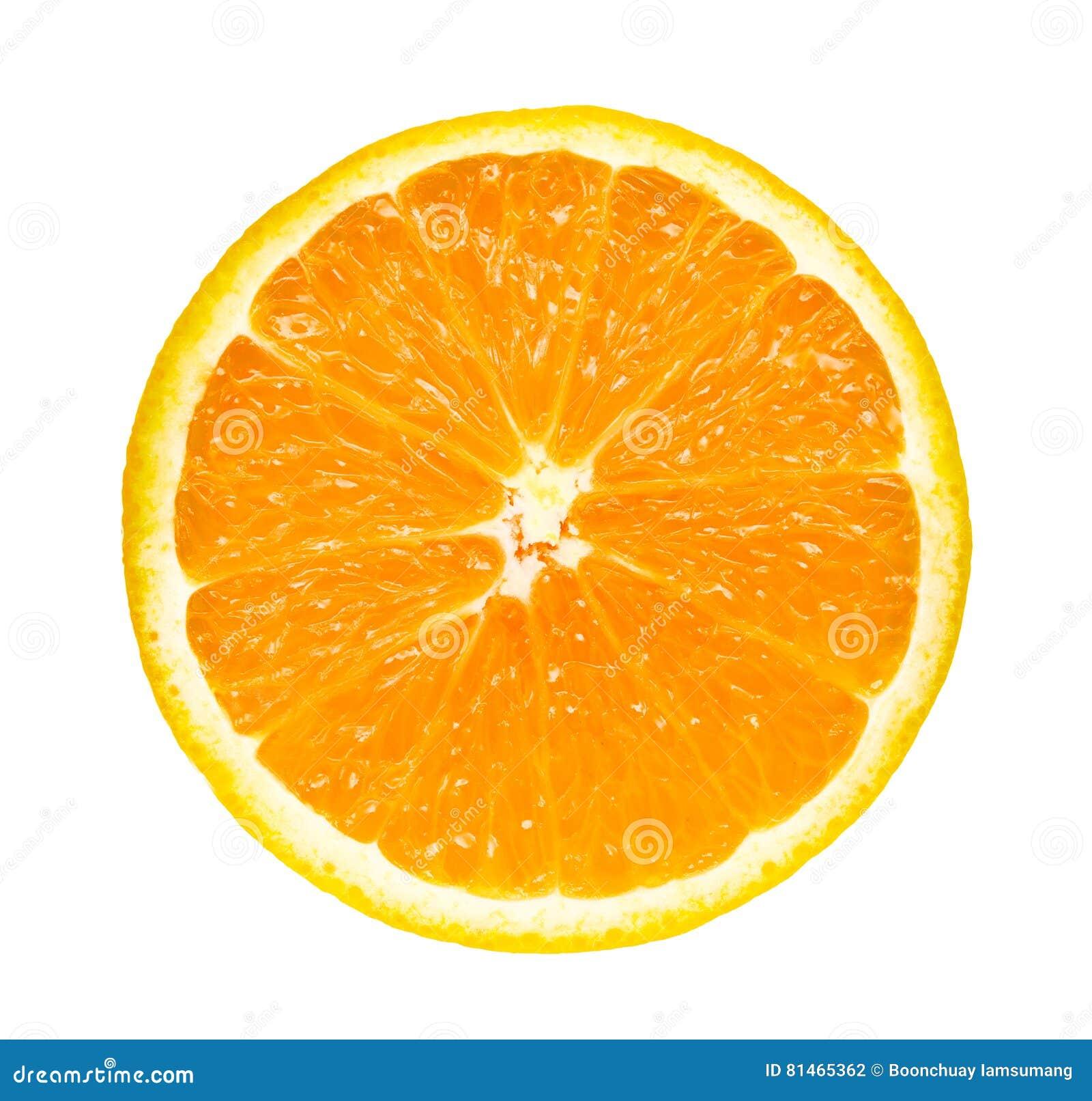 Half slice fresh orange isolated on white background