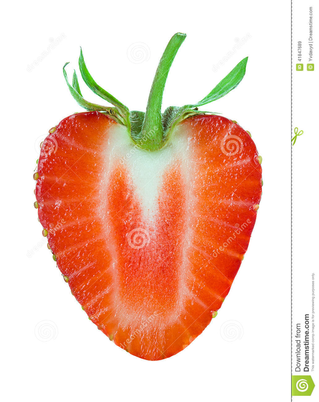 half of strawberry isolated on white stock image image