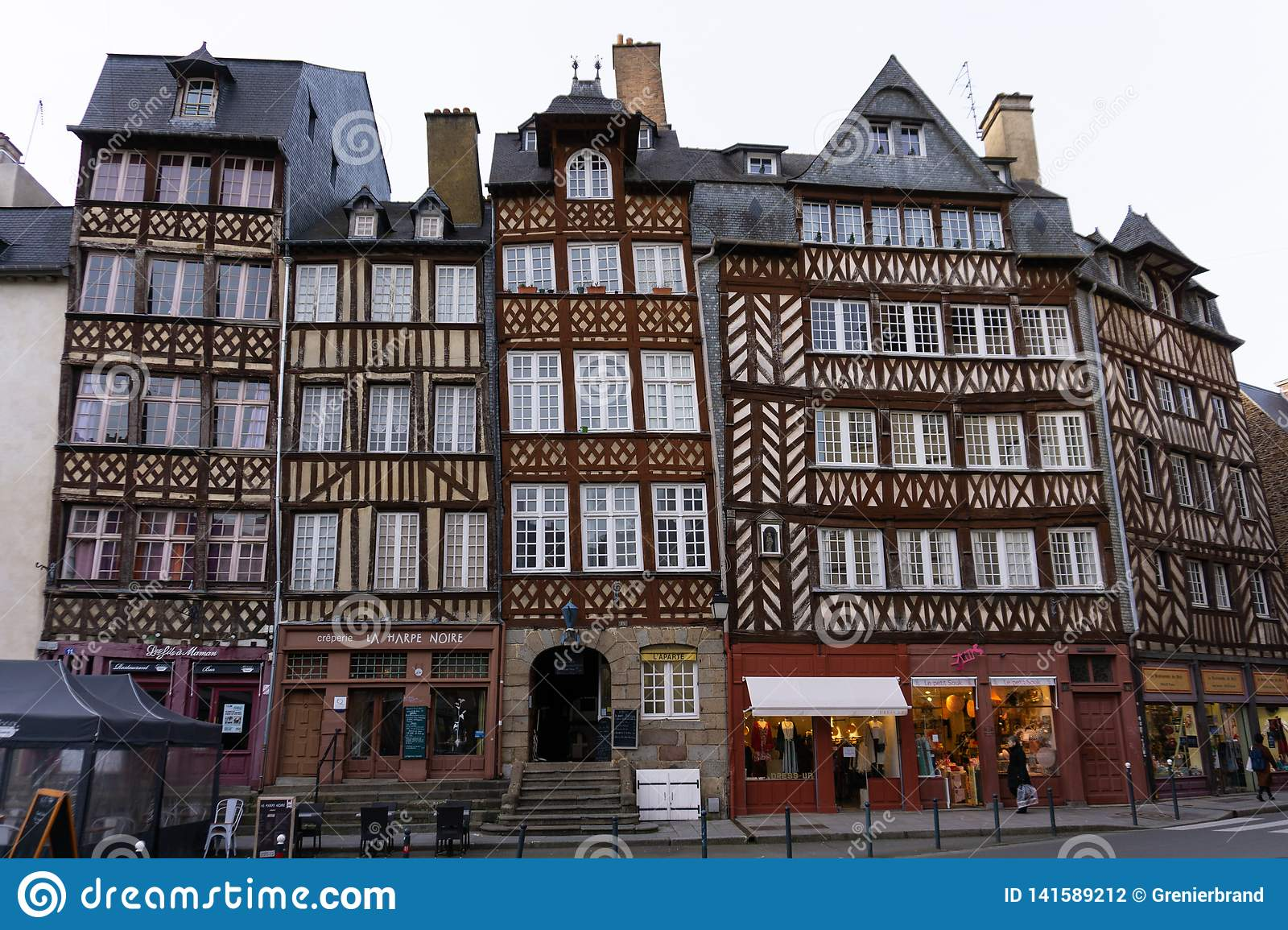 Half timber old european buildings in Rennes France at the square Champ-Jacquet horizontal