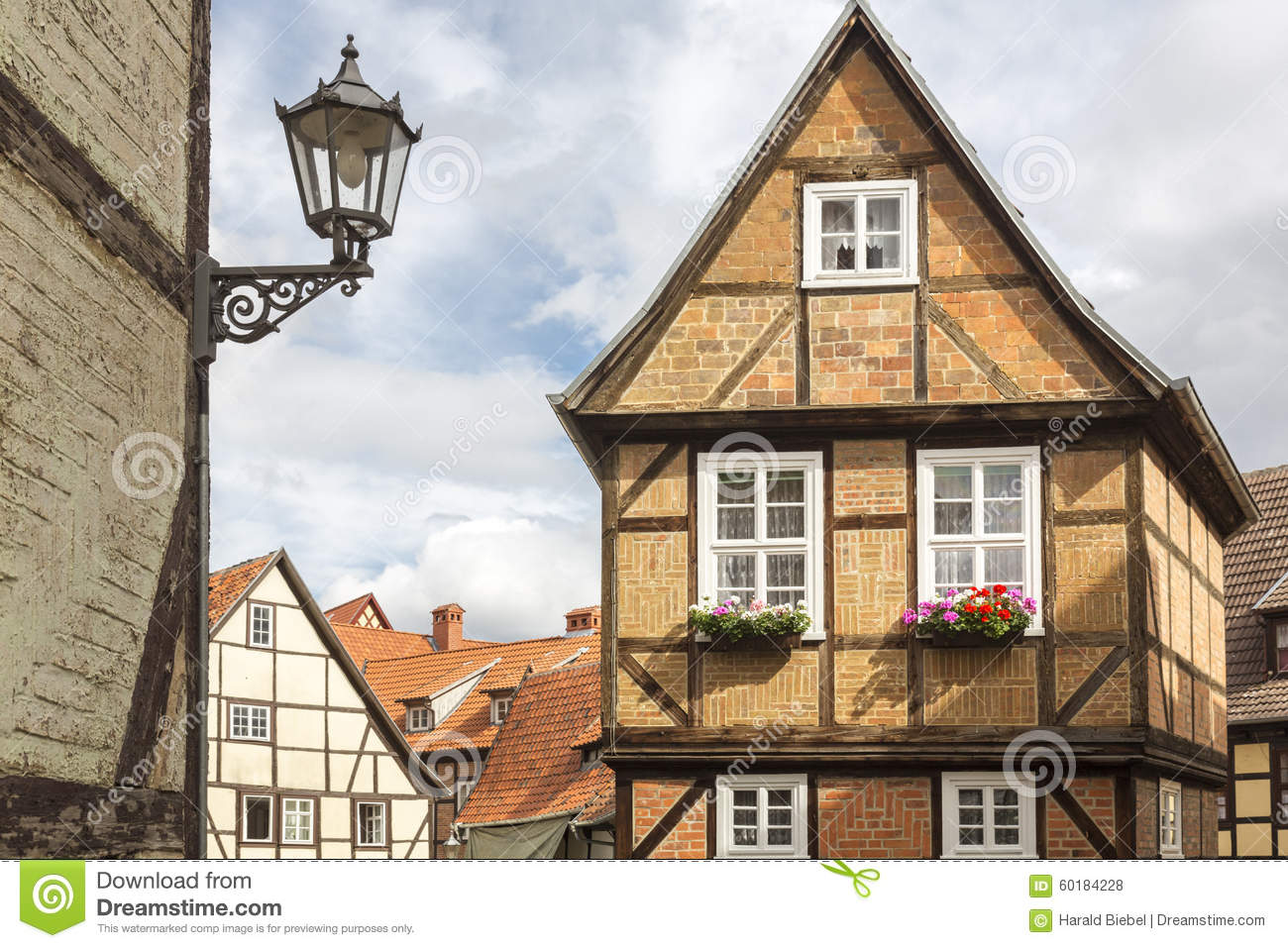 Half timbered house in quedlinburg germany stock photo for Half timbered house plans