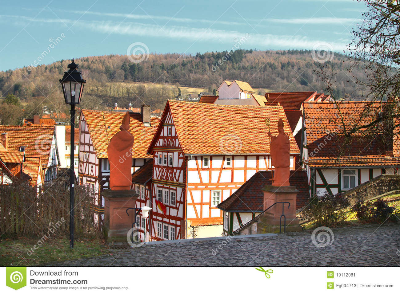 half timbered house near old castle wall royalty free stock image 20849524. Black Bedroom Furniture Sets. Home Design Ideas
