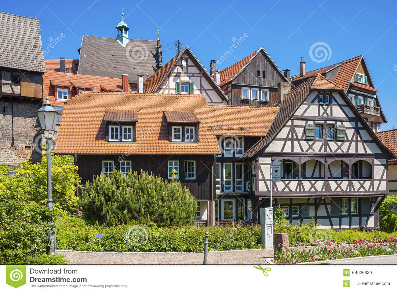 half timbered houses in the historic center of gernsbach black stock photo image 64025630. Black Bedroom Furniture Sets. Home Design Ideas