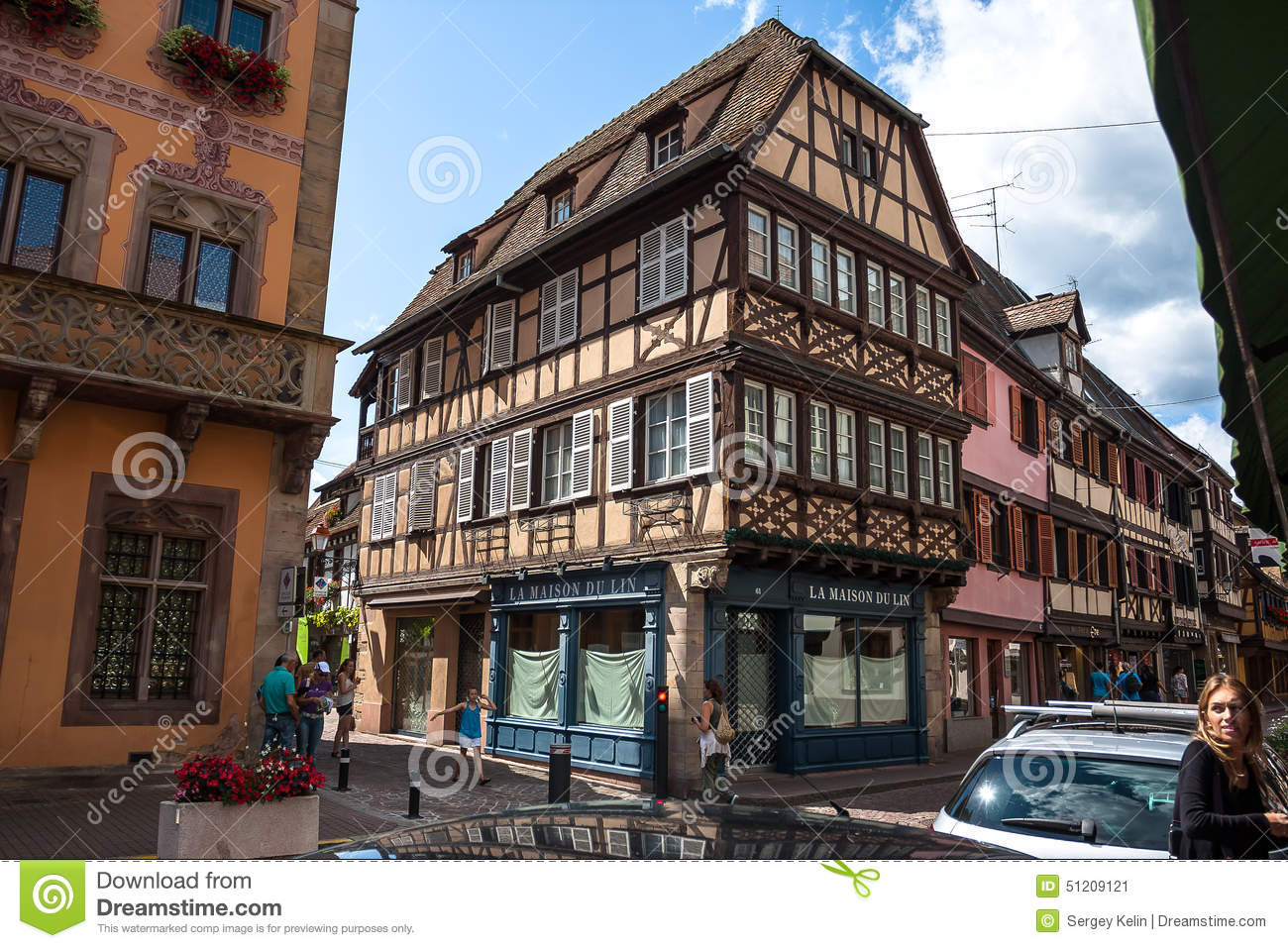 Half timbered houses in the historic center of obernai in for Blue piscine colmar
