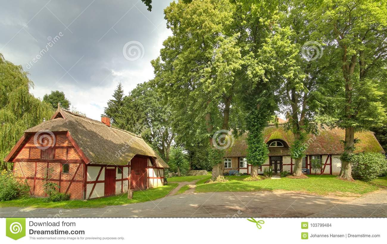Half timbered houses, listed as monuments, in Gristow, Mecklenburg-Vorpommern, Germany
