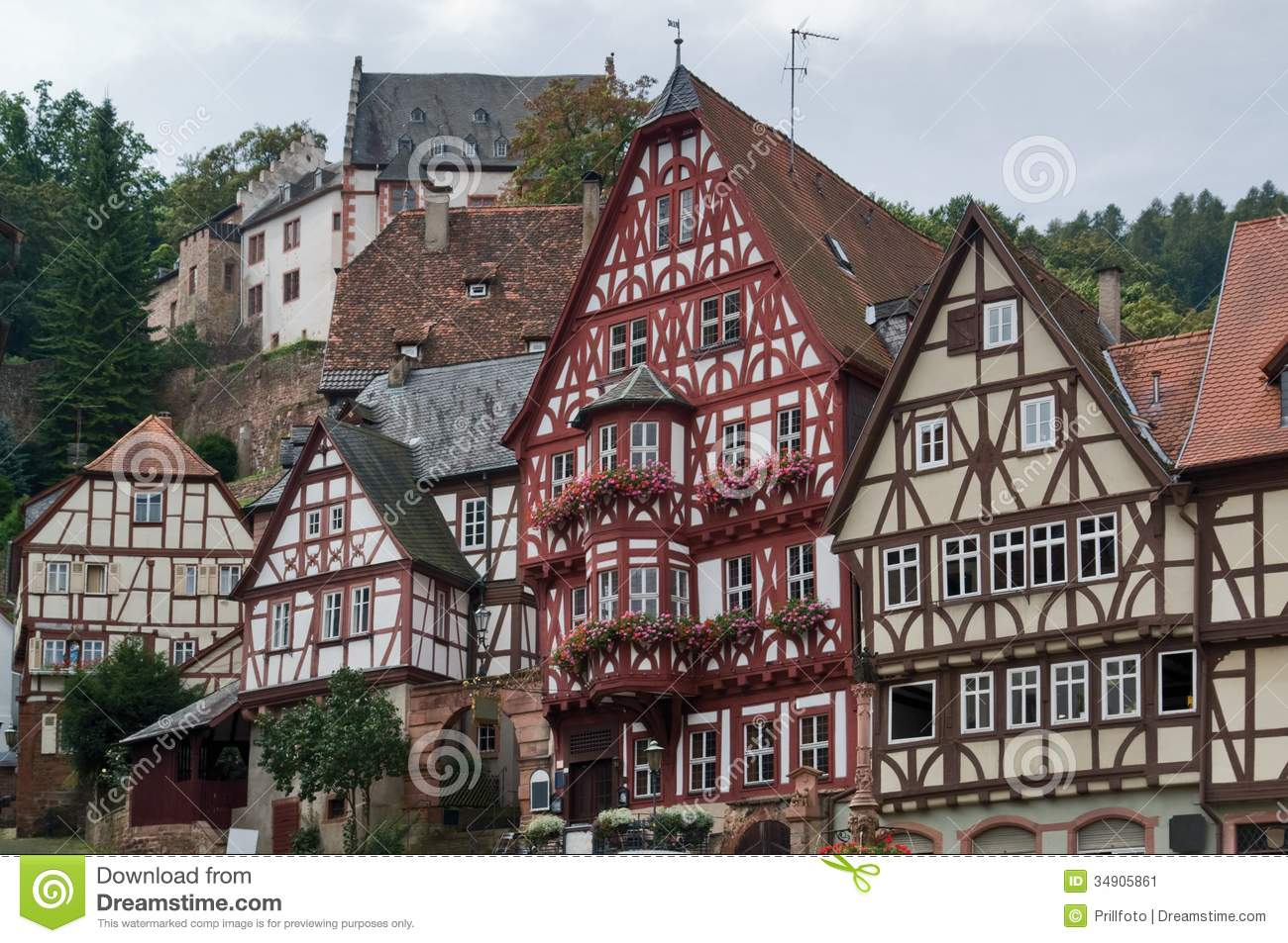 Half timbered houses in miltenberg stock image image for Small houses in germany