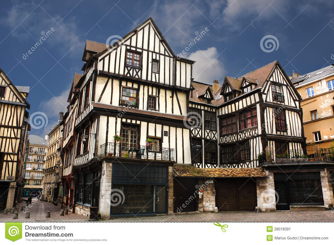 half timbered houses of rouen stock image image 28018391. Black Bedroom Furniture Sets. Home Design Ideas