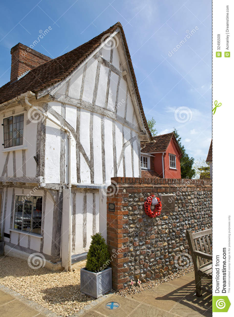 Half Timbered Medieval Cottage In Lavenham Suffol Stock
