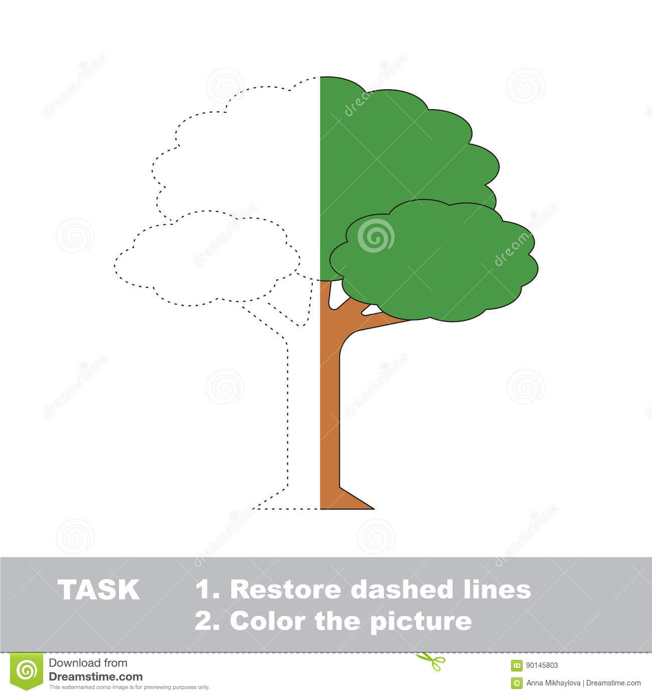 Half Tracing Game To Be Colored. Stock Vector - Illustration of page ...