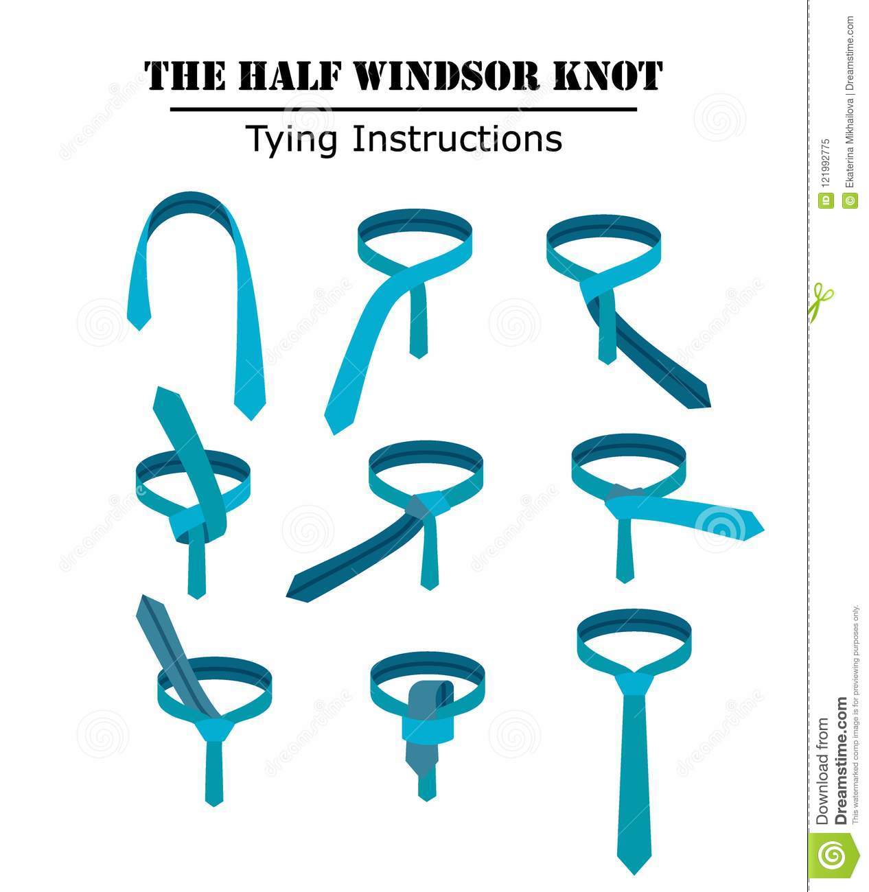 the half windsor tie knot instructions isolated on white background  guide  how to tie a